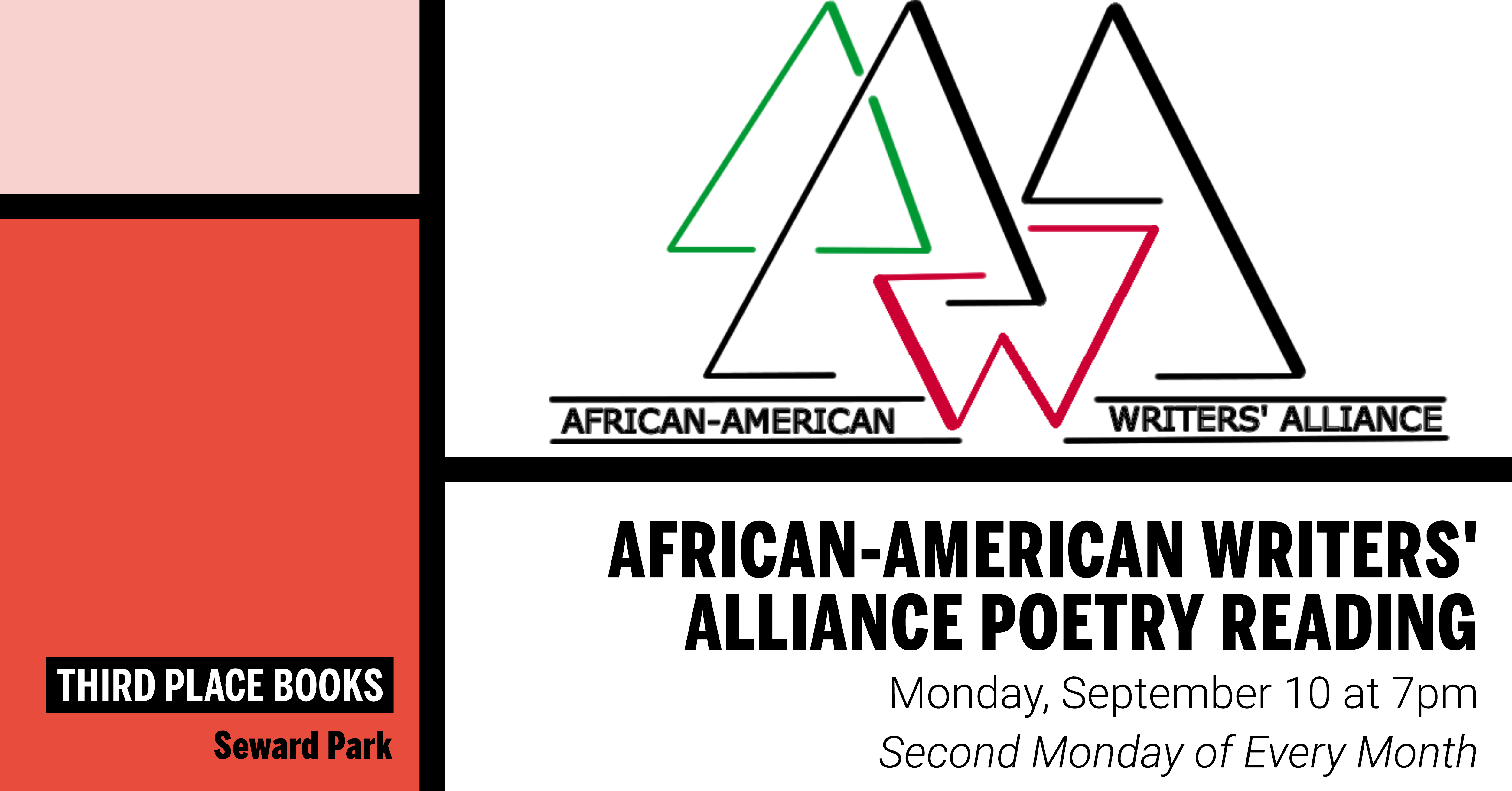 African-American Writers' Alliance Reading on Monday, September 10 at 7pm