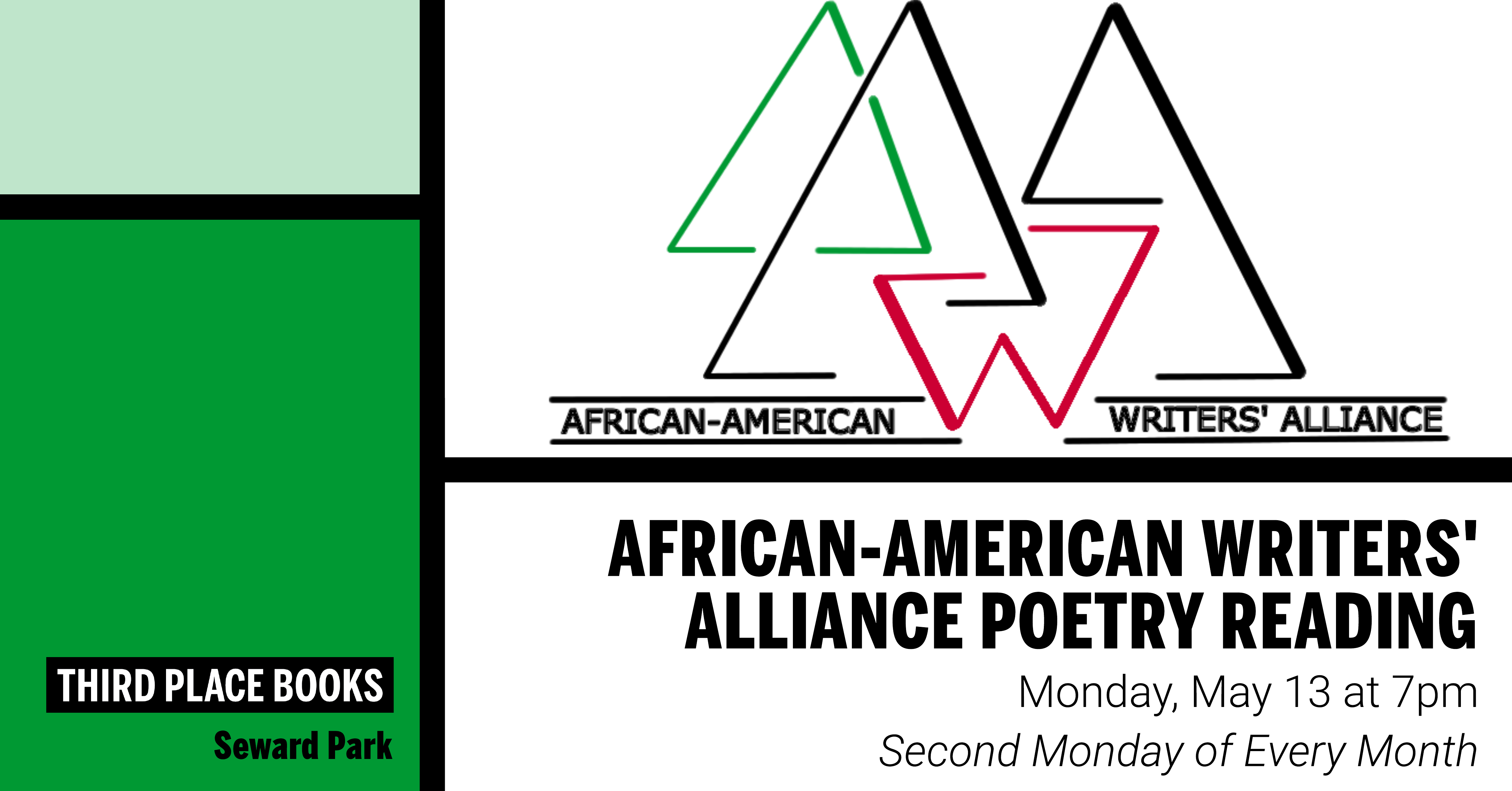 African-American Writers' Alliance Reading on Monday, May 13 at 7pm