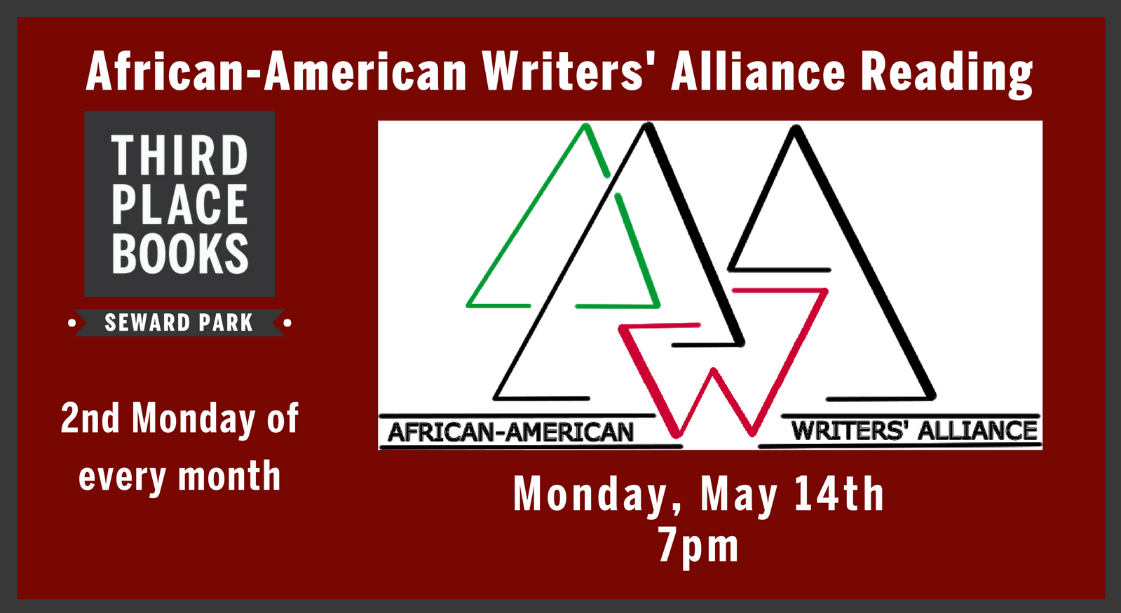 African-American Writers' Alliance Reading on May 14th at 7pm