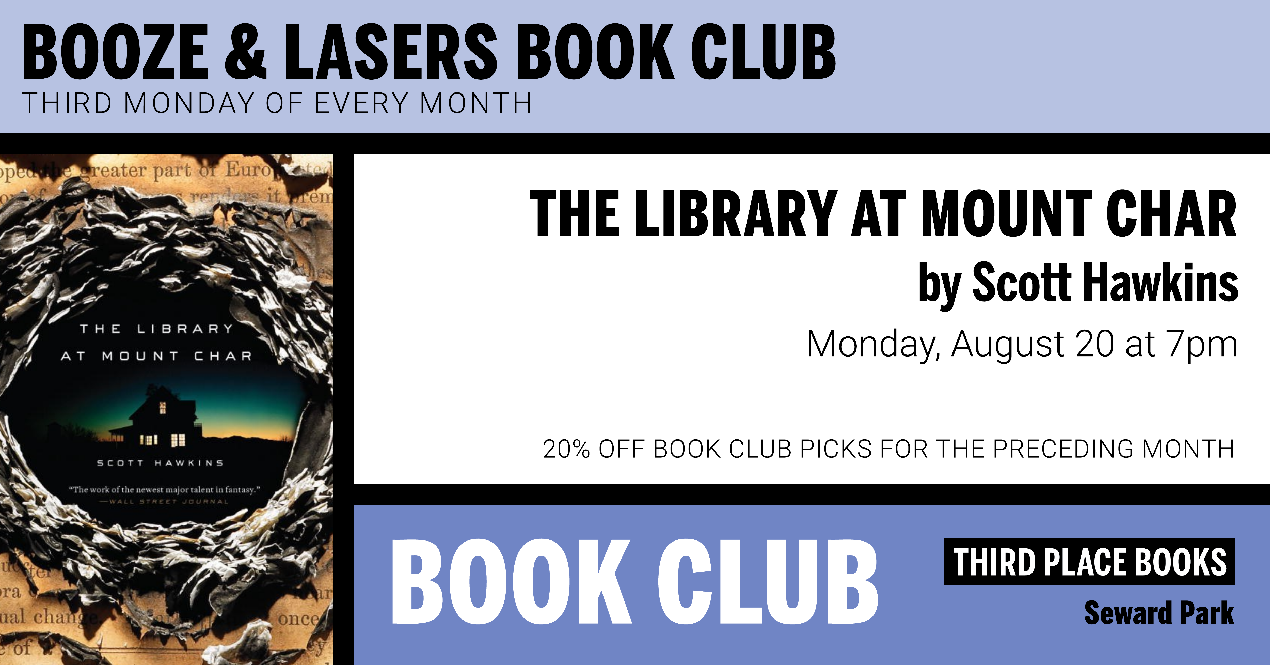 Booze & Lasers Book Club discussing The Library at Mount Char on Monday, August 20 at 7pm