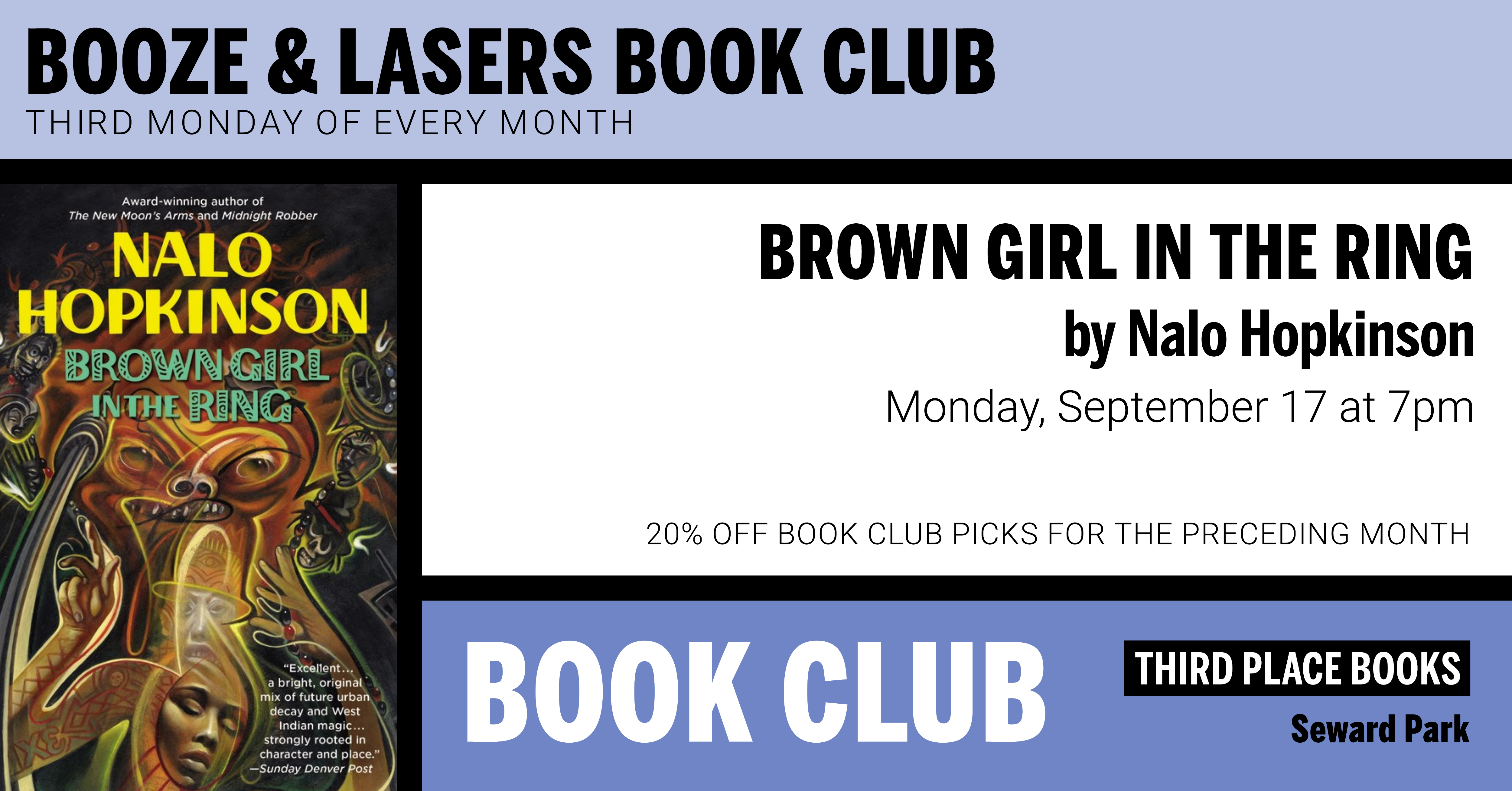 Booze & Lasers Book Club discussing Brown Girl in the Ring on Monday, September 17 at 7pm