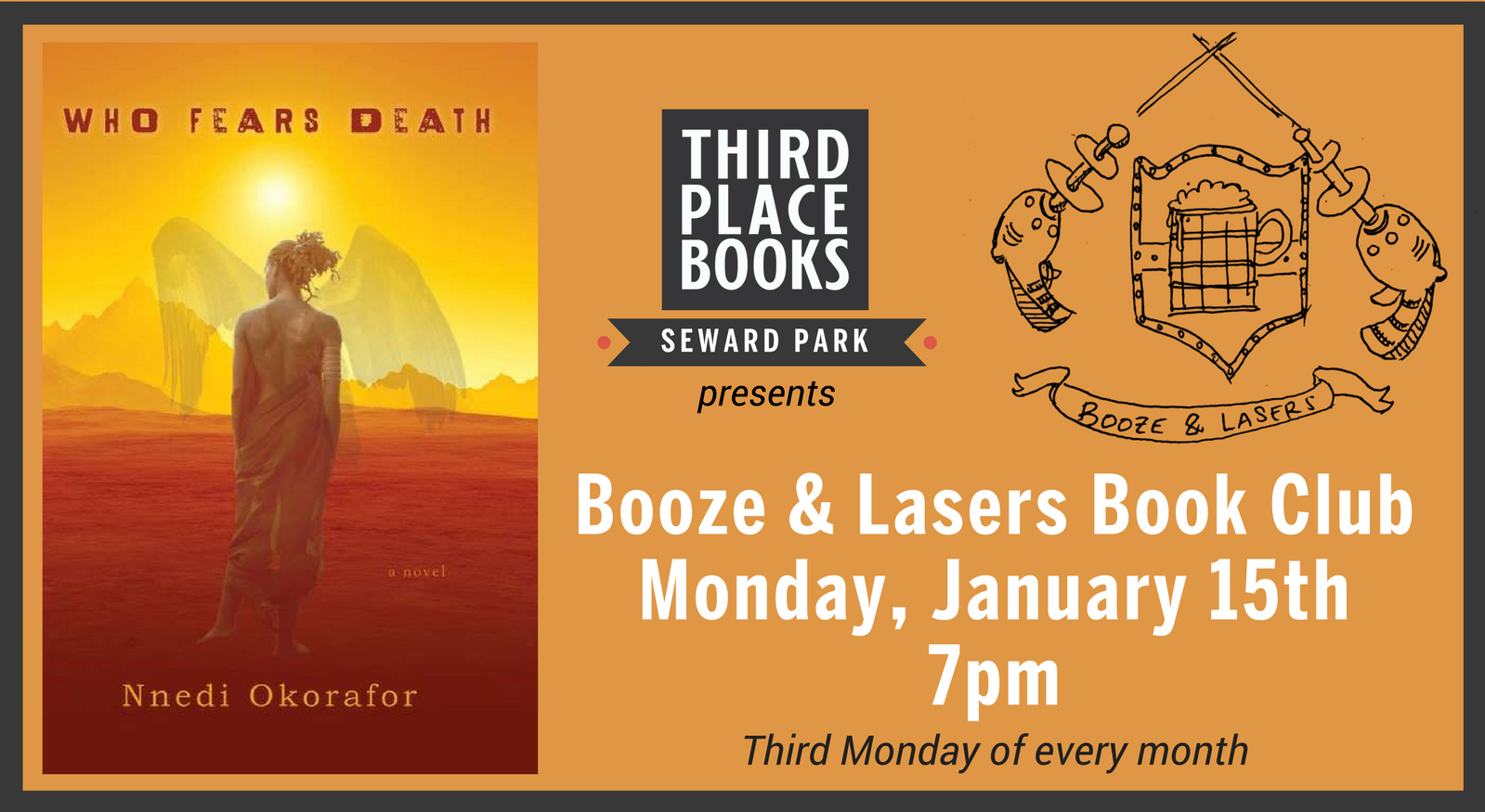 Booze and Lasers Book Club reading Who Fears Death