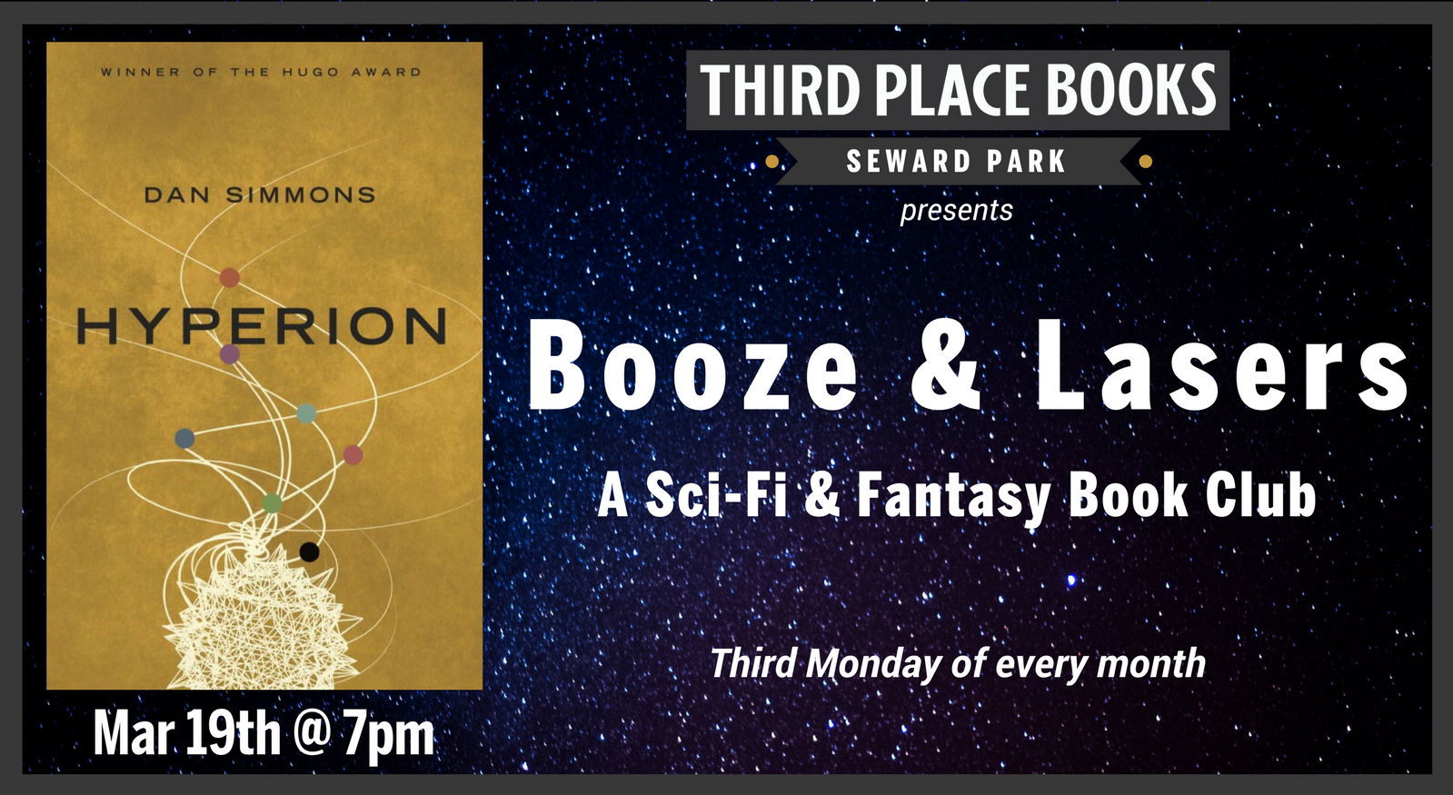 Booze & Lasers Book Club reading Hyperion by Dan Simmons on Monday, March 19th at 7pm