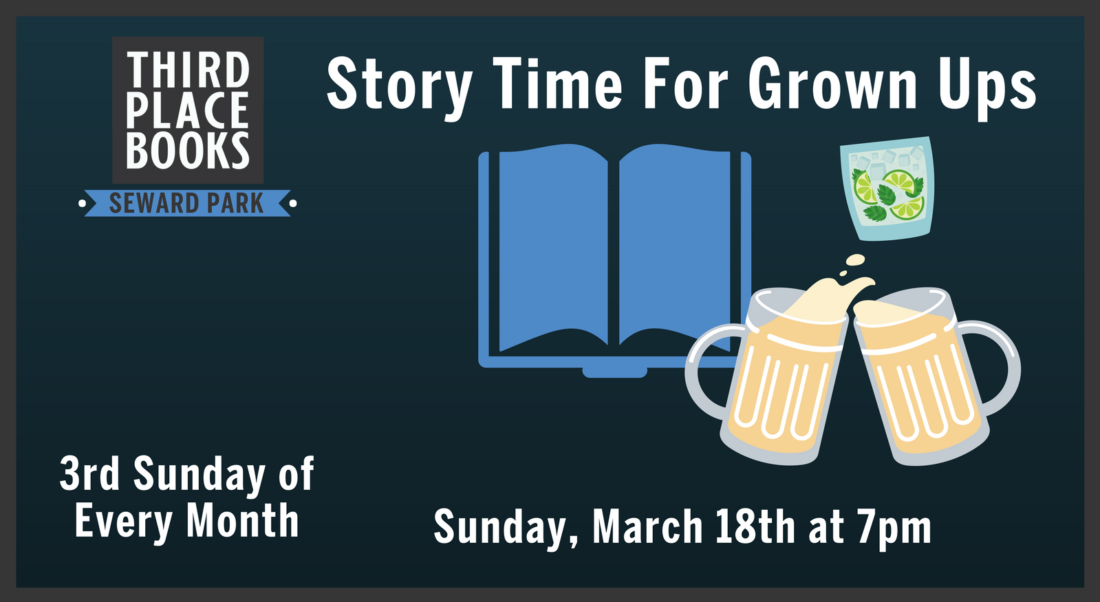 Story Time for Grown Ups! on Sunday, March 18th at 7pm