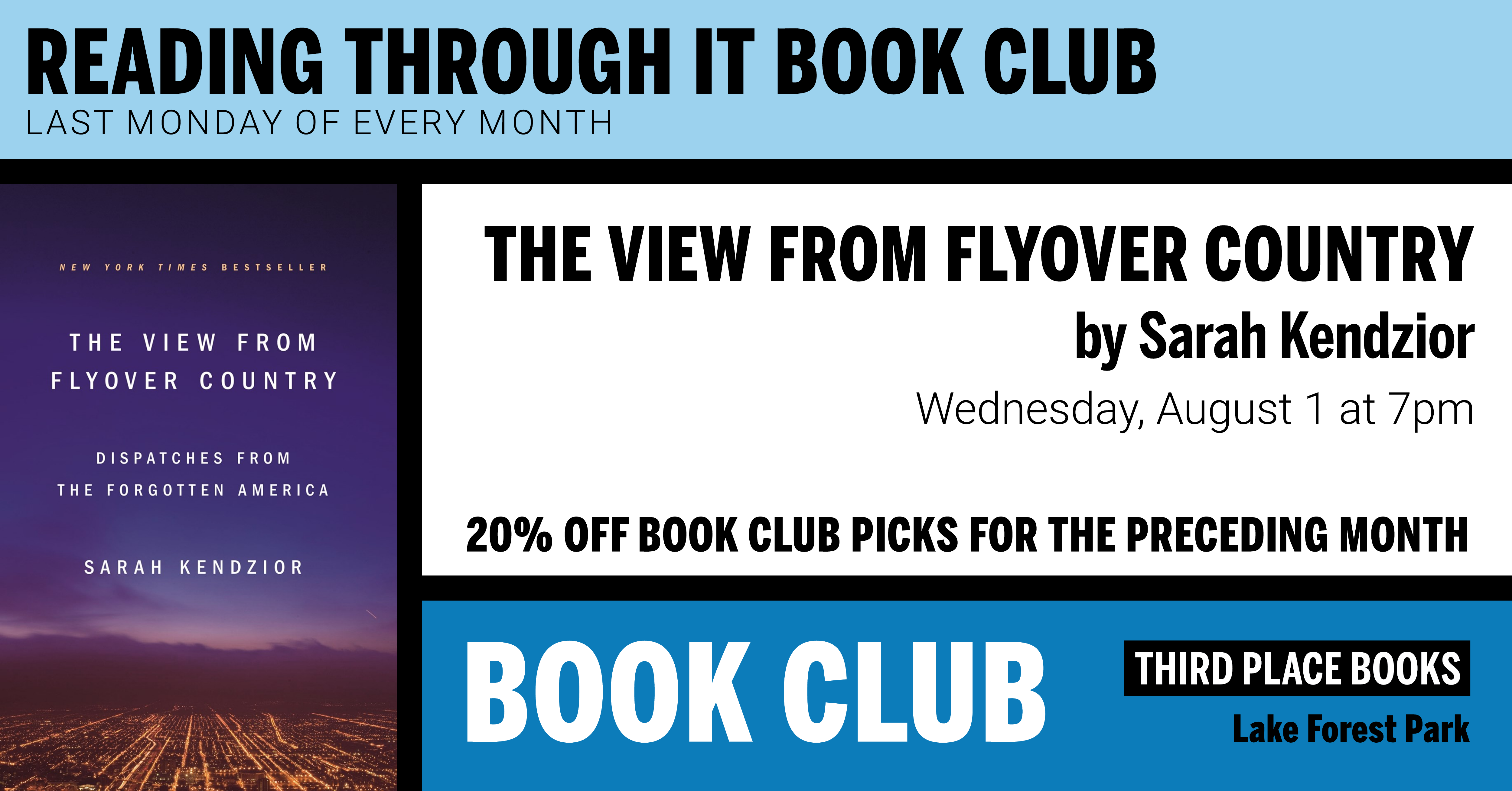 Reading Through It Book Club discussing The View From Flyover Country on Wednesday, August 1 at 7pm