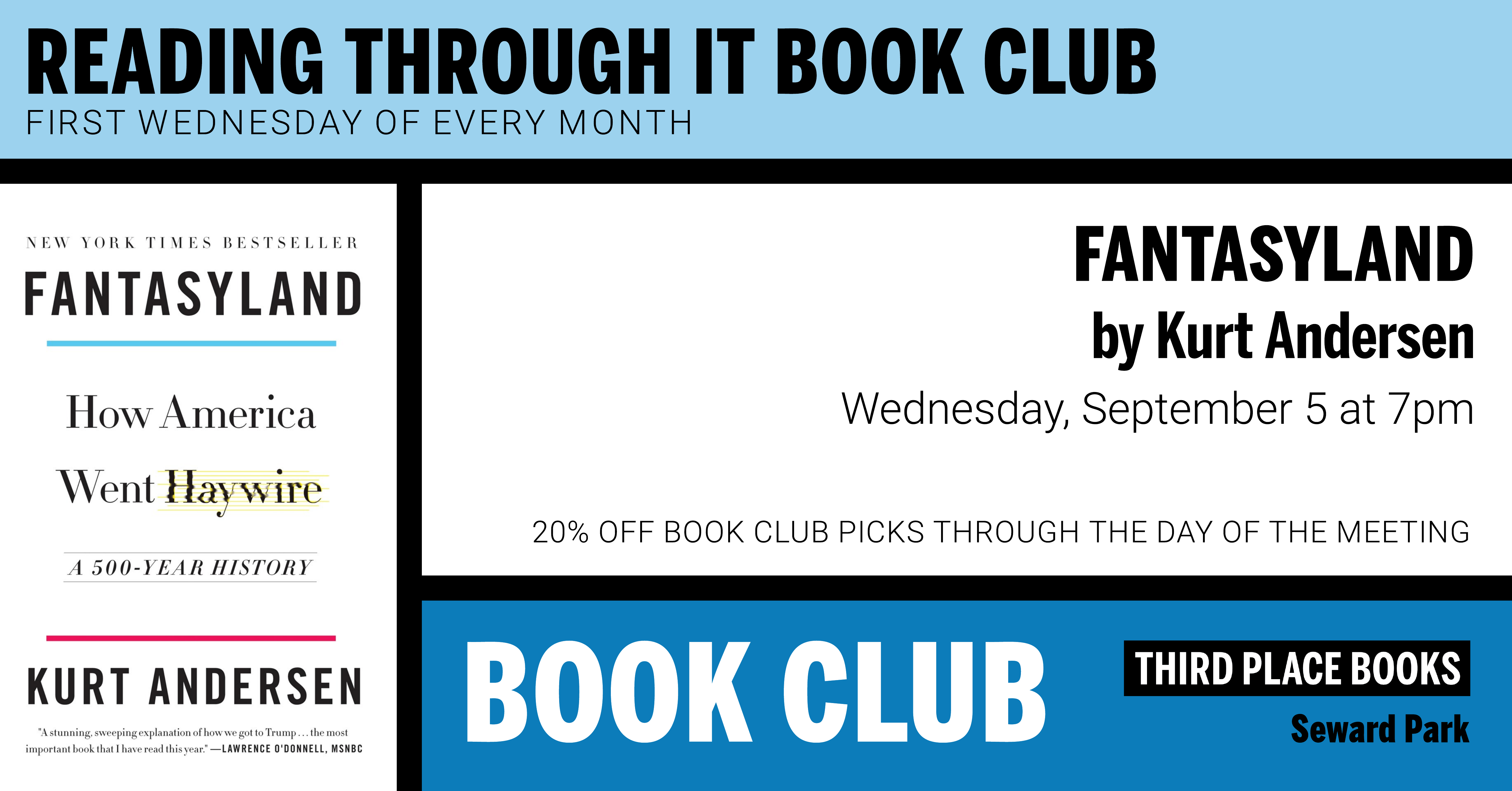 Reading Through It Book Club discussing Fantasyland on Wednesday, September 5 at 7pm