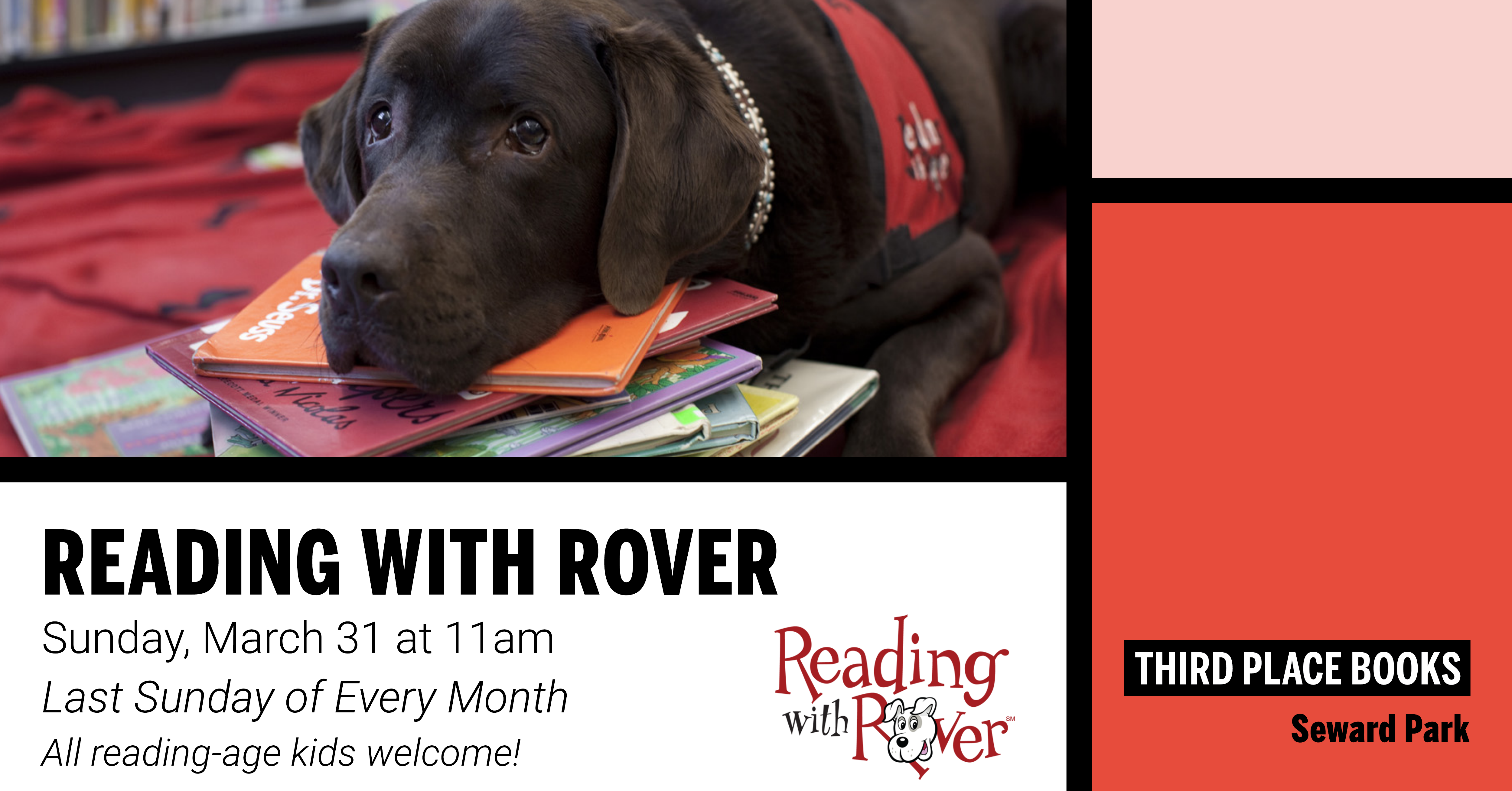 Reading With Rover! on Sunday, March 31 at 11am