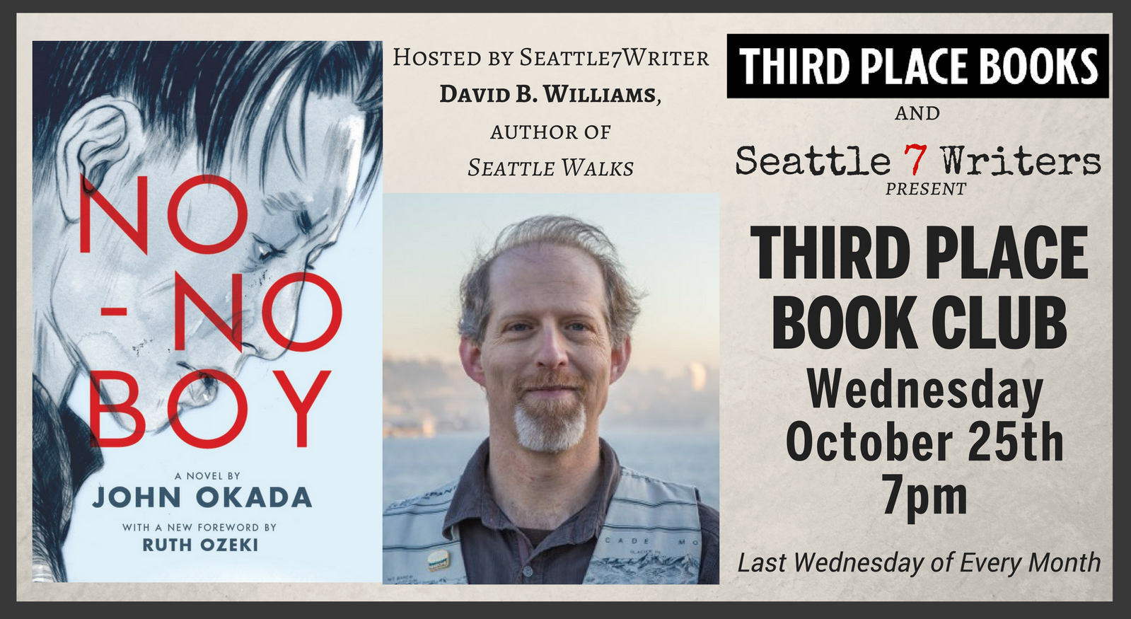 Seattle7Writers' Book Club with David B. Williams, reading No-No Boy