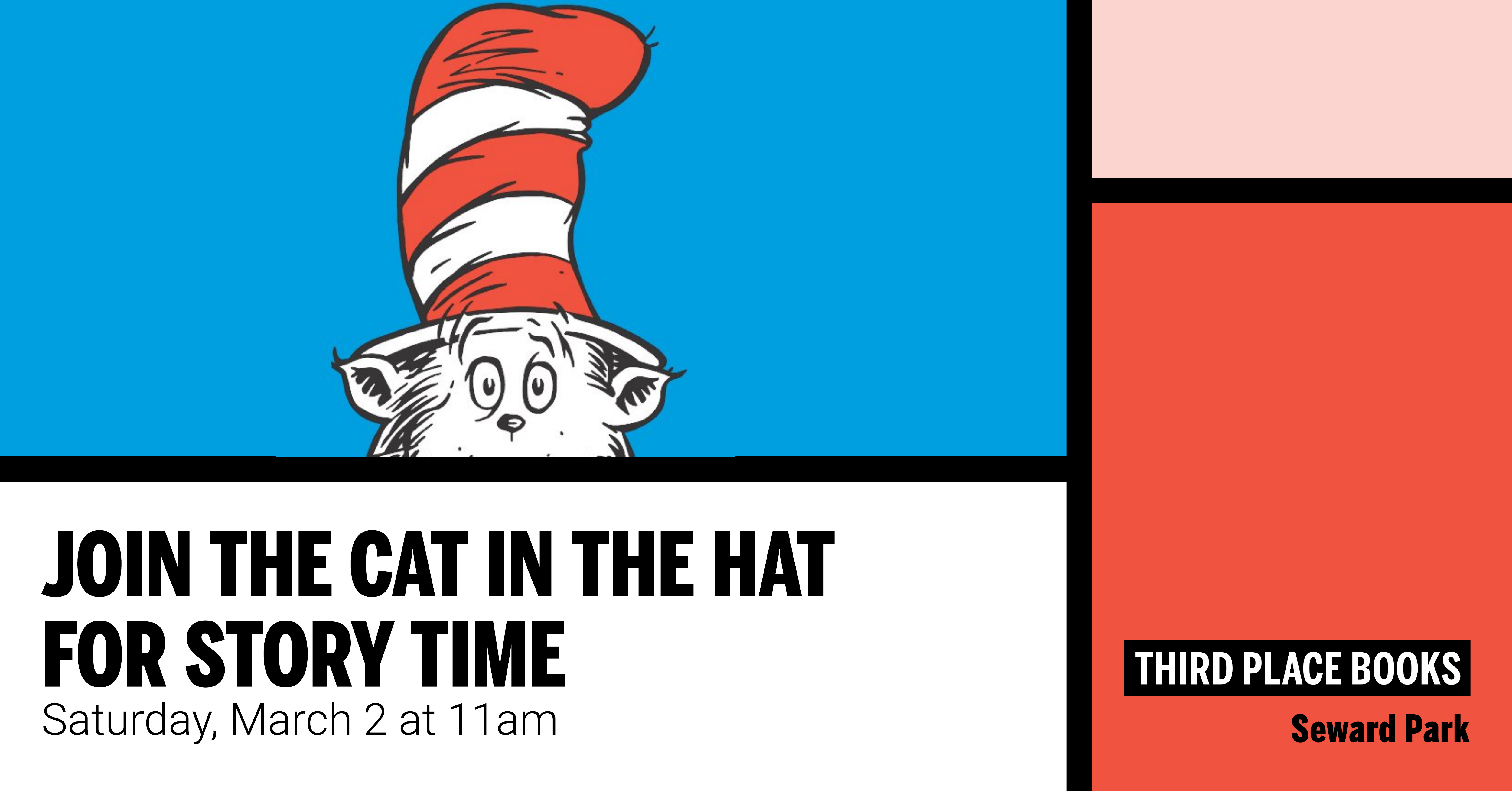 Join The Cat in the Hat for Story Time on Saturday, March 2 at 11am
