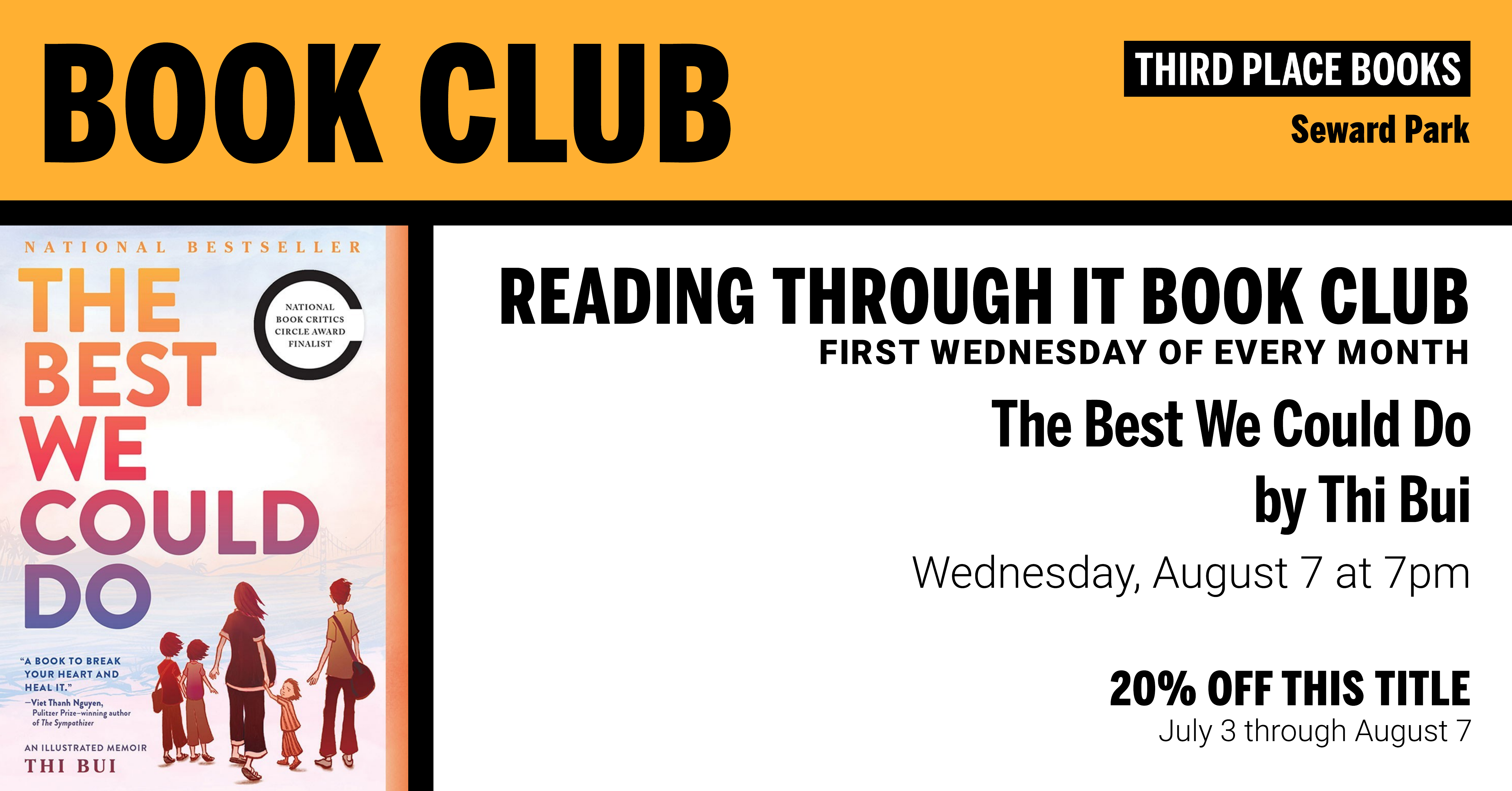Reading Through It Book Club discussing The Best We Could Do by Thi Bui on Wednesday, August 7 at 7pm