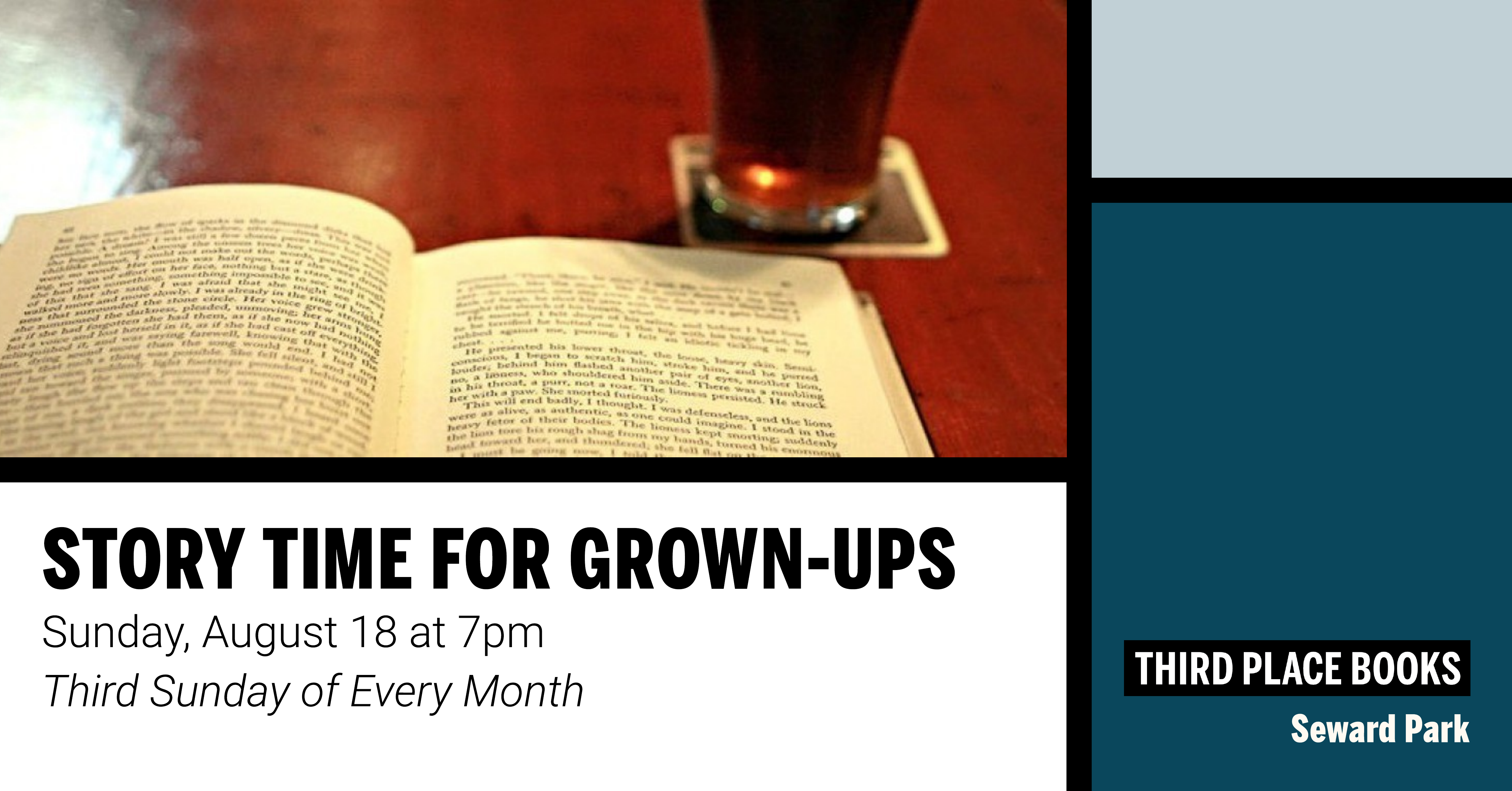Story Time for Grown Ups on Sunday, August 18 at 7pm