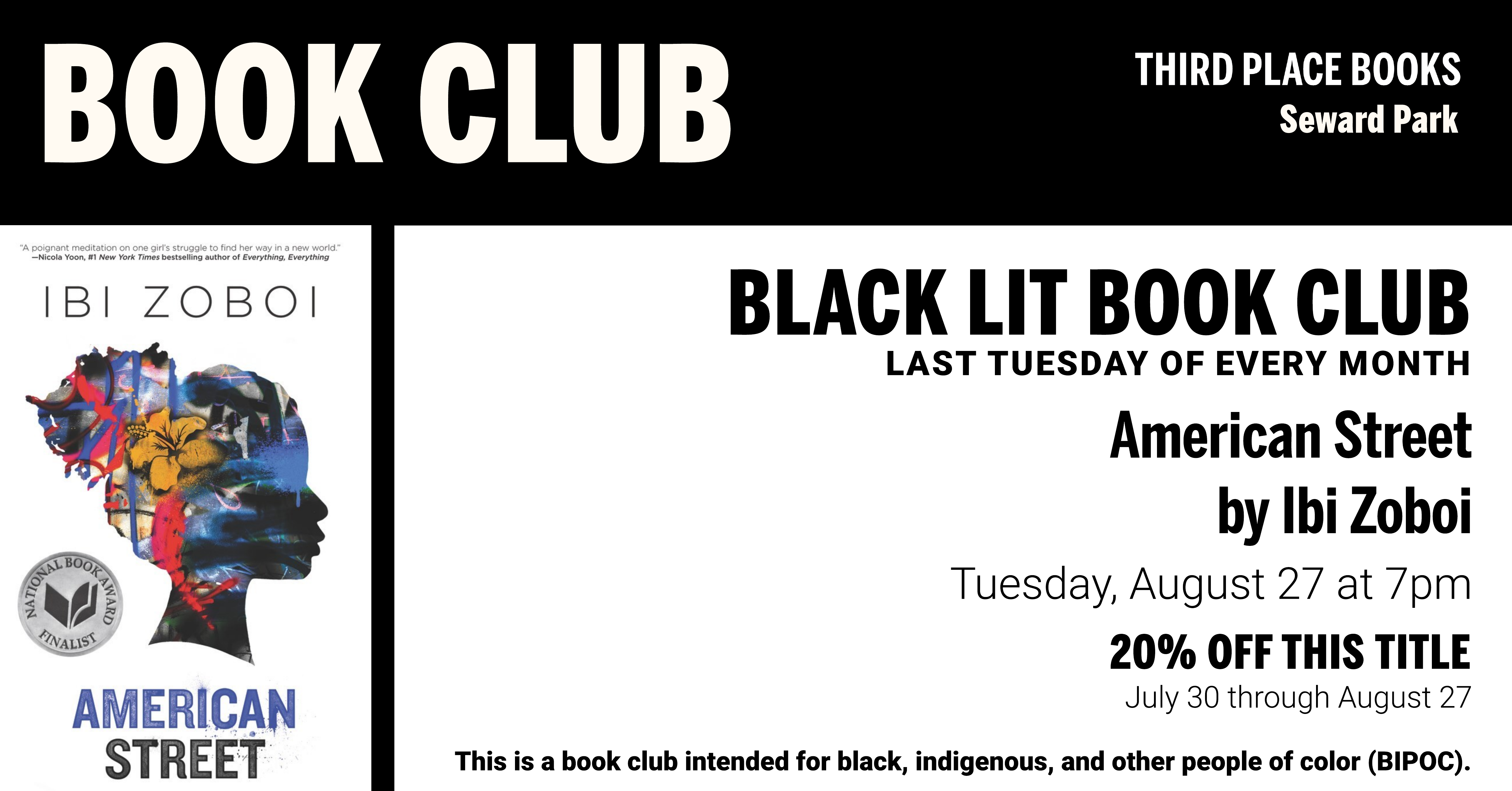 Black Lit Book Club discussing American Street on Tuesday, August 27 at 7pm
