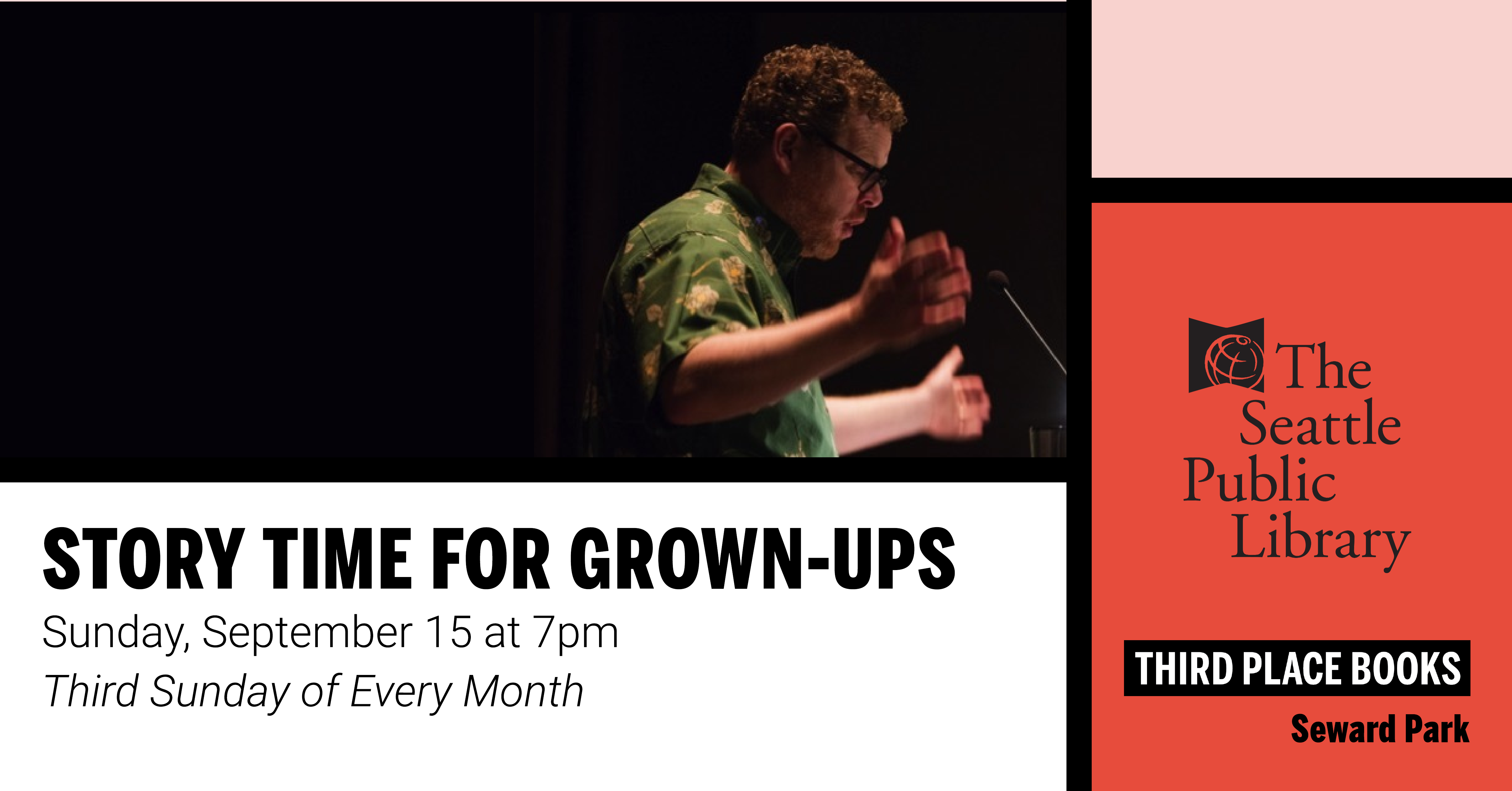 Story Time for Grown-Ups on Sunday, September 15 at 7pm