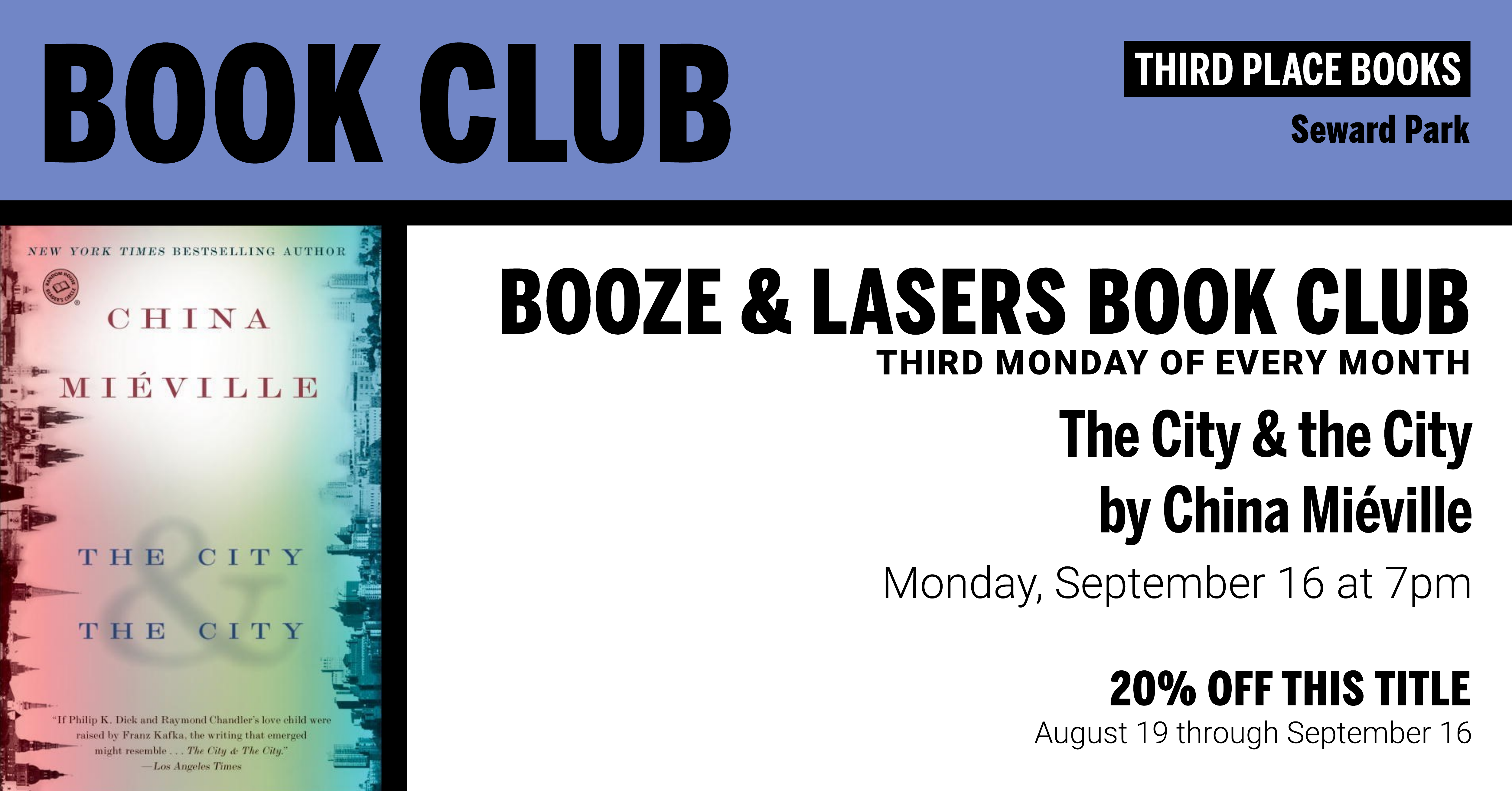 Booze & Lasers Book Club discussing The City & the City by China Miéville on Monday, September 16 at 7pm