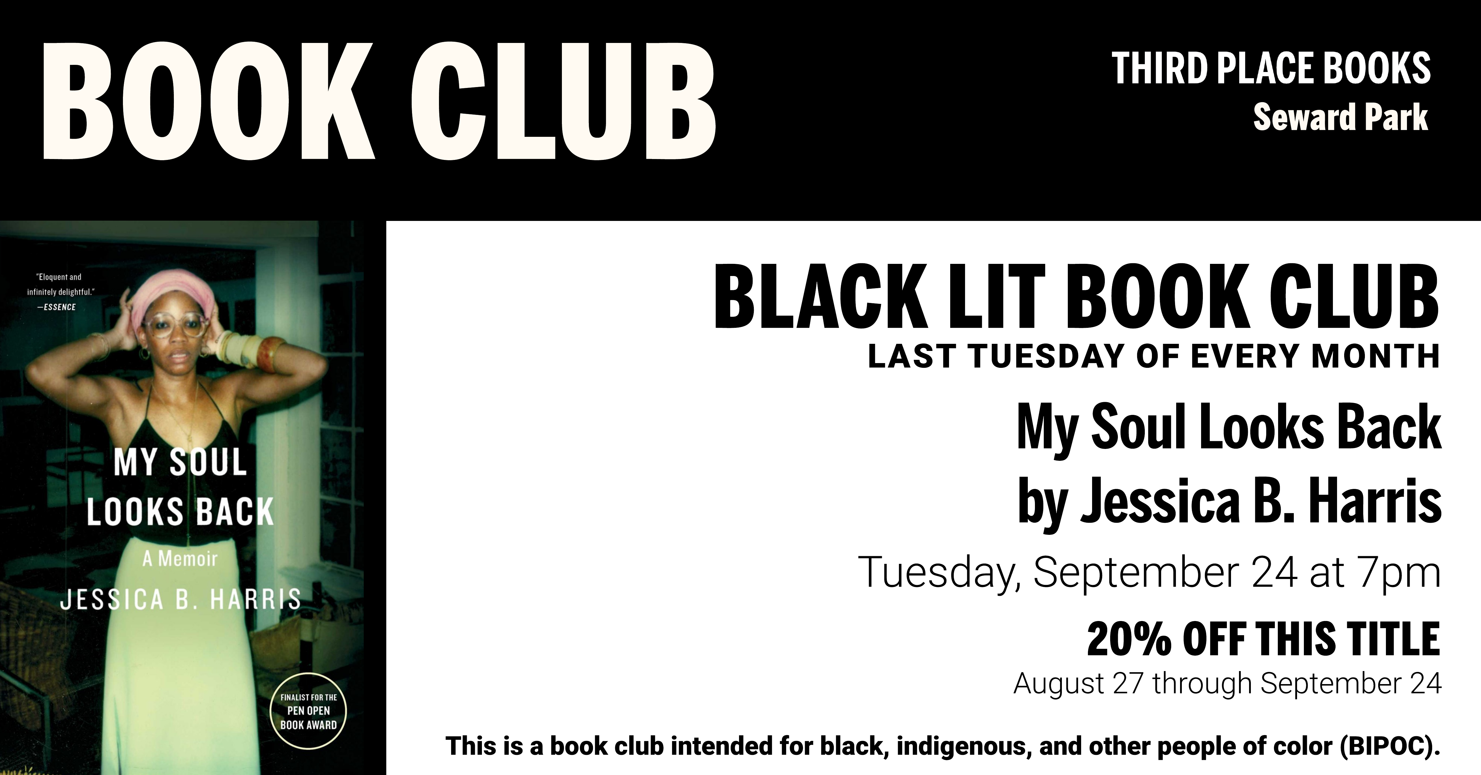 Black Lit Book Club discussing My Soul Looks Back by Jessica B. Harris on Tuesday, September 24 at 7pm
