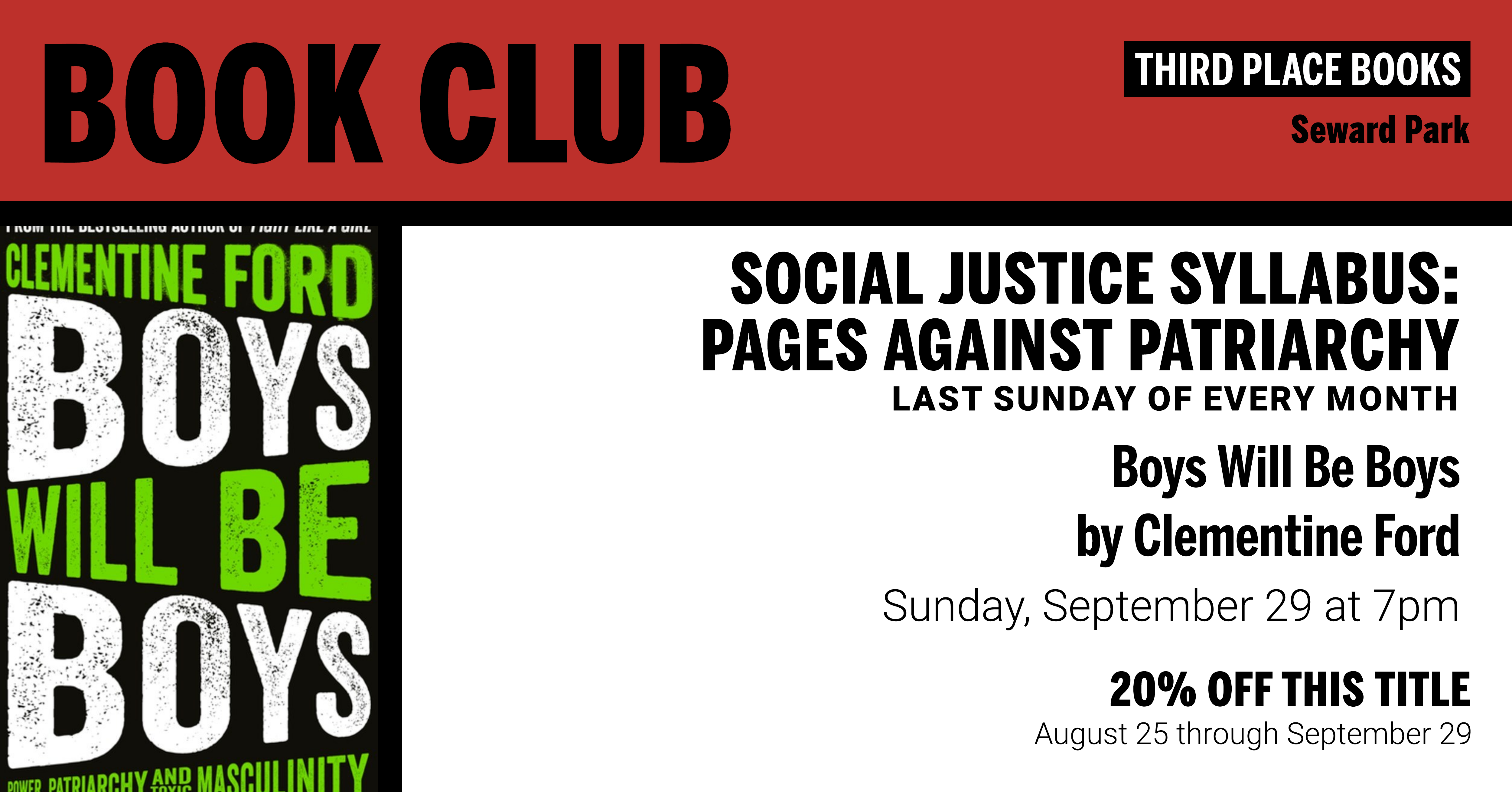 Social Justice Syllabus Book Club discussing Boys Will Be Boys by Clementine Ford on Sunday, September 29 at 7pm