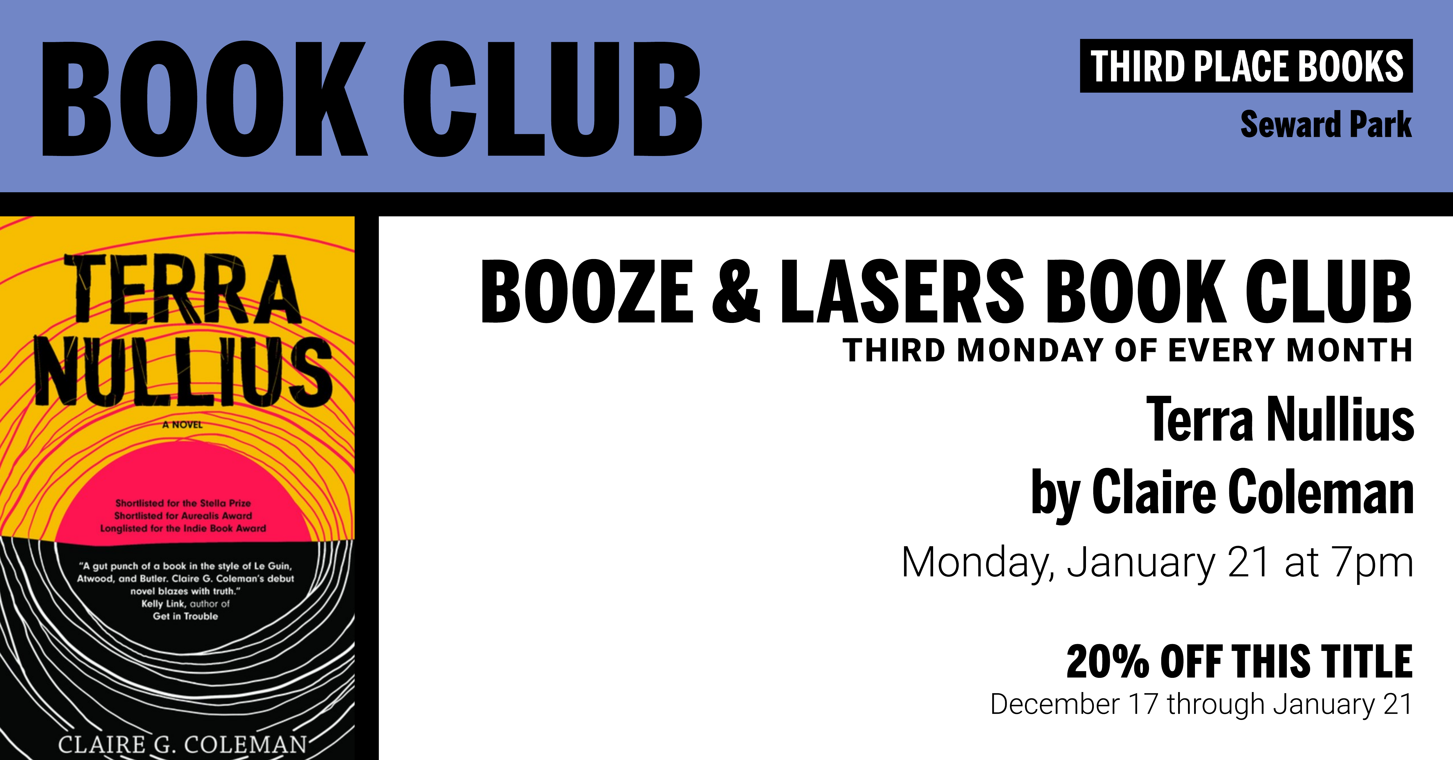 Booze & Lasers Book Club reading Terra Nullius by Claire Coleman on Monday, January 21 at 7pm