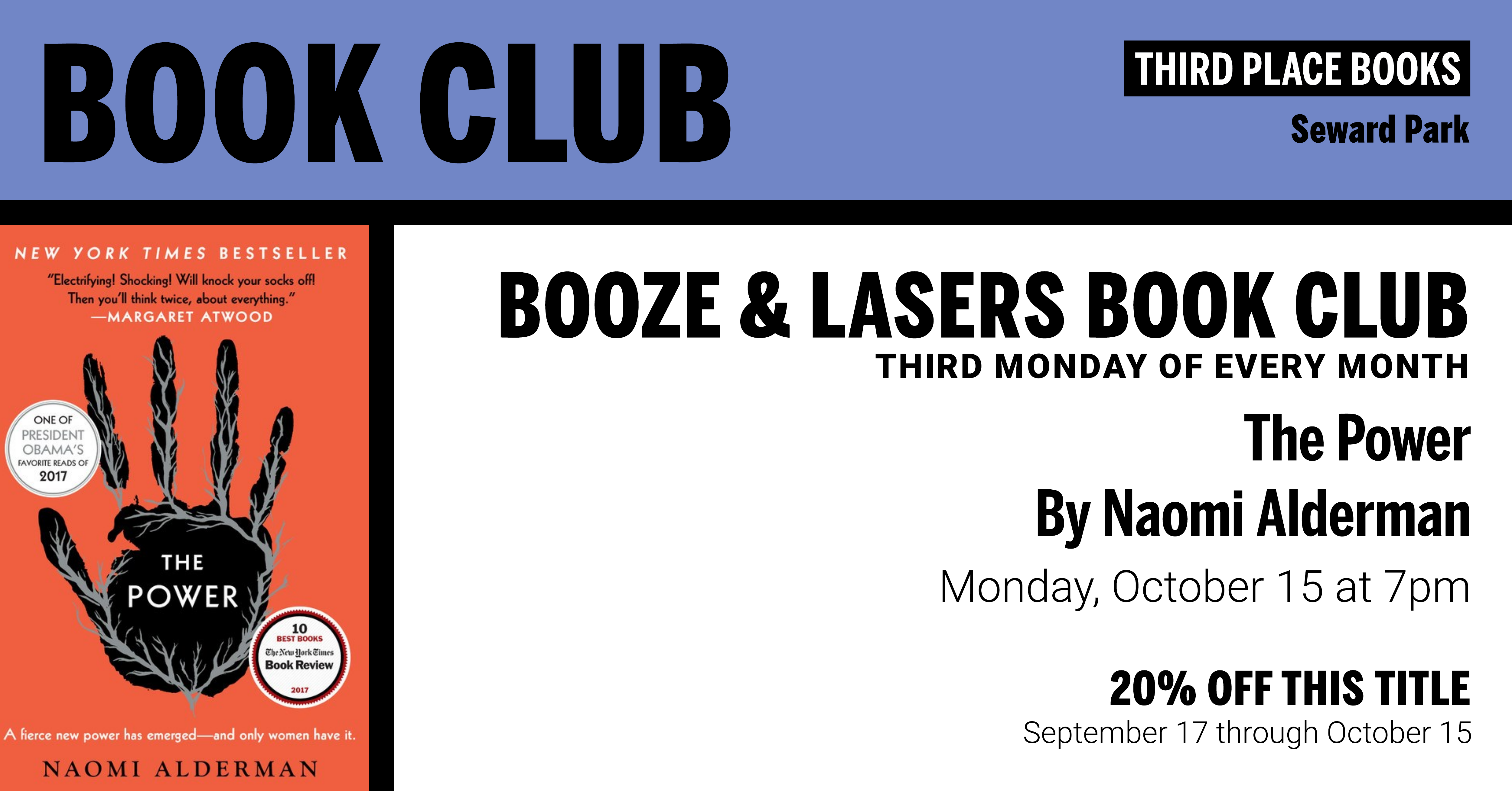 Booze & Lasers Book Club discussing The Power on Monday, October 15 at 7pm