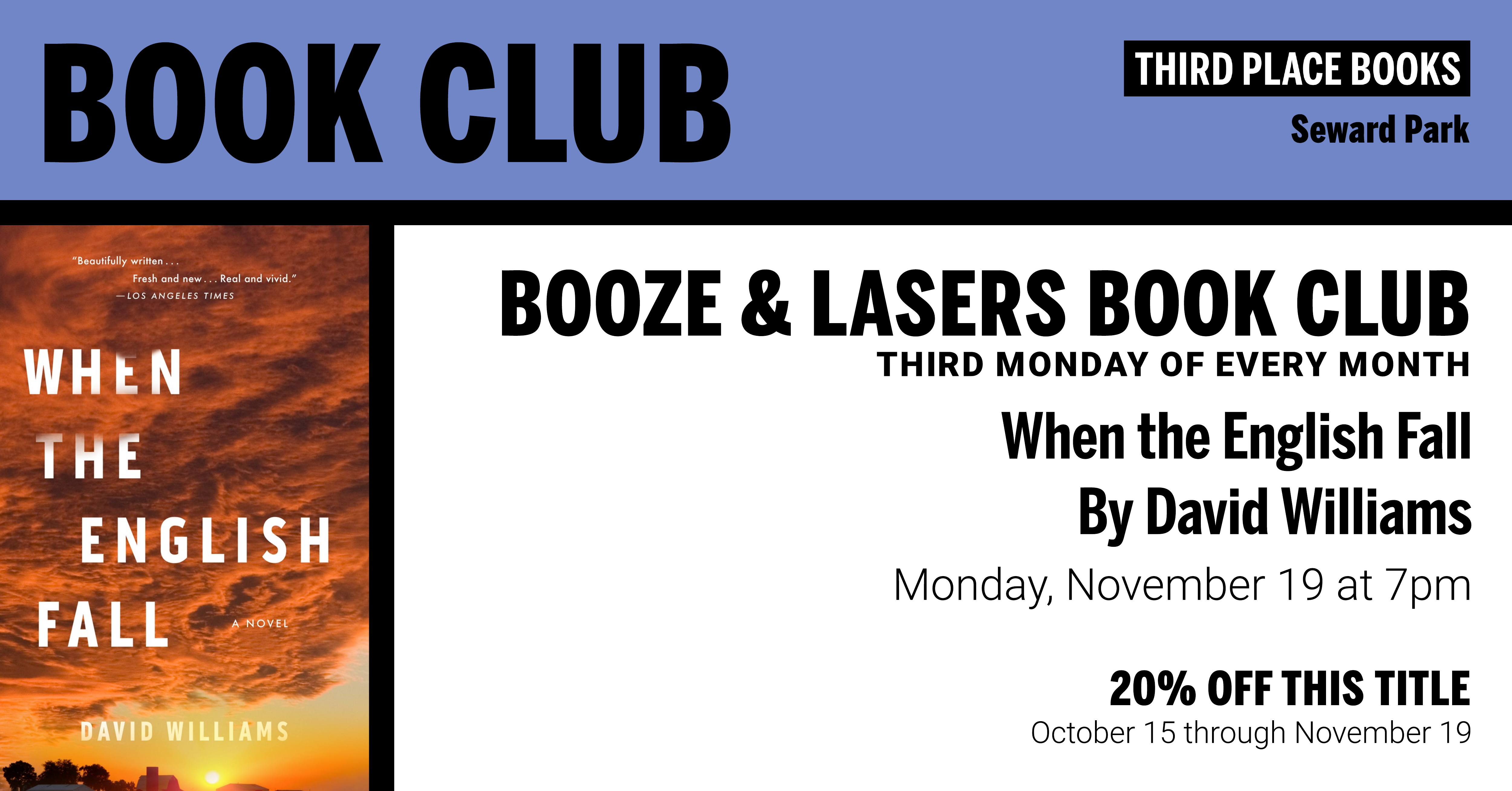 Booze & Lasers Book Club reading When the English Fall by David Williams on Monday, November 19 at 7pm