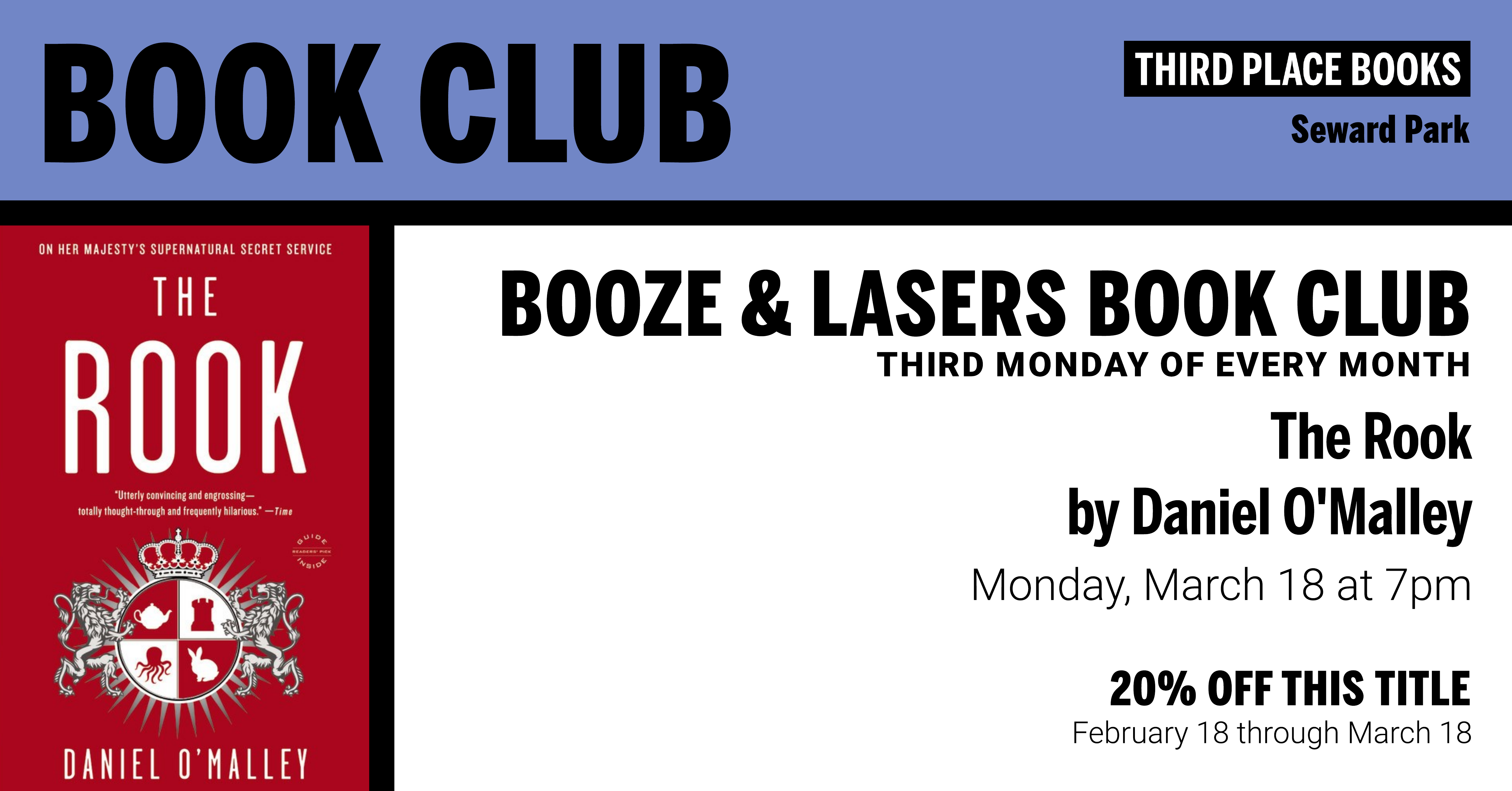 Booze & Lasers Book Club reading The Rook by Daniel O'Malley on Monday, March 18 at 7pm