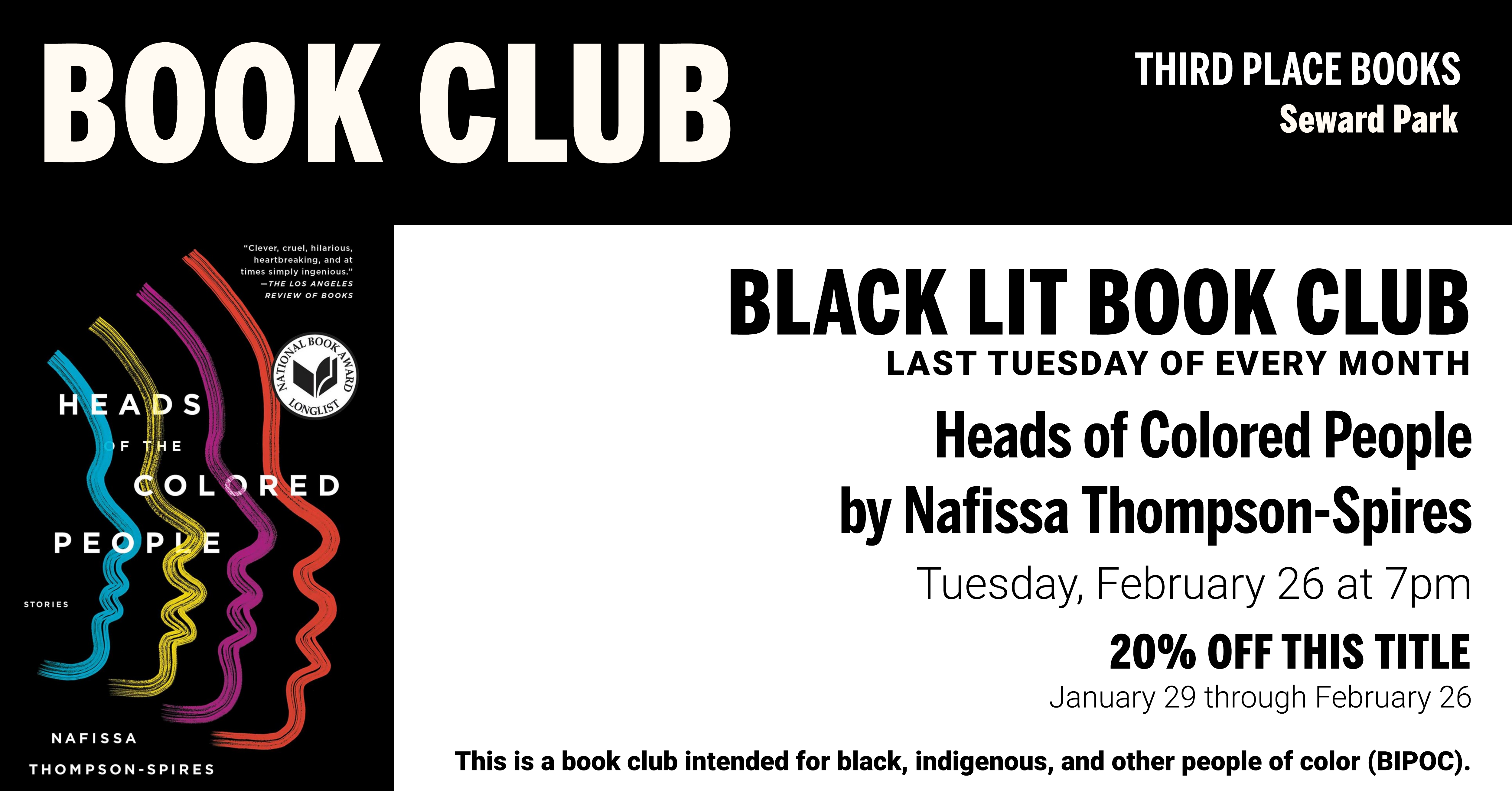 Black Lit Book Club discussing The Heads of Colored People on Tuesday, February 26 at 7pm