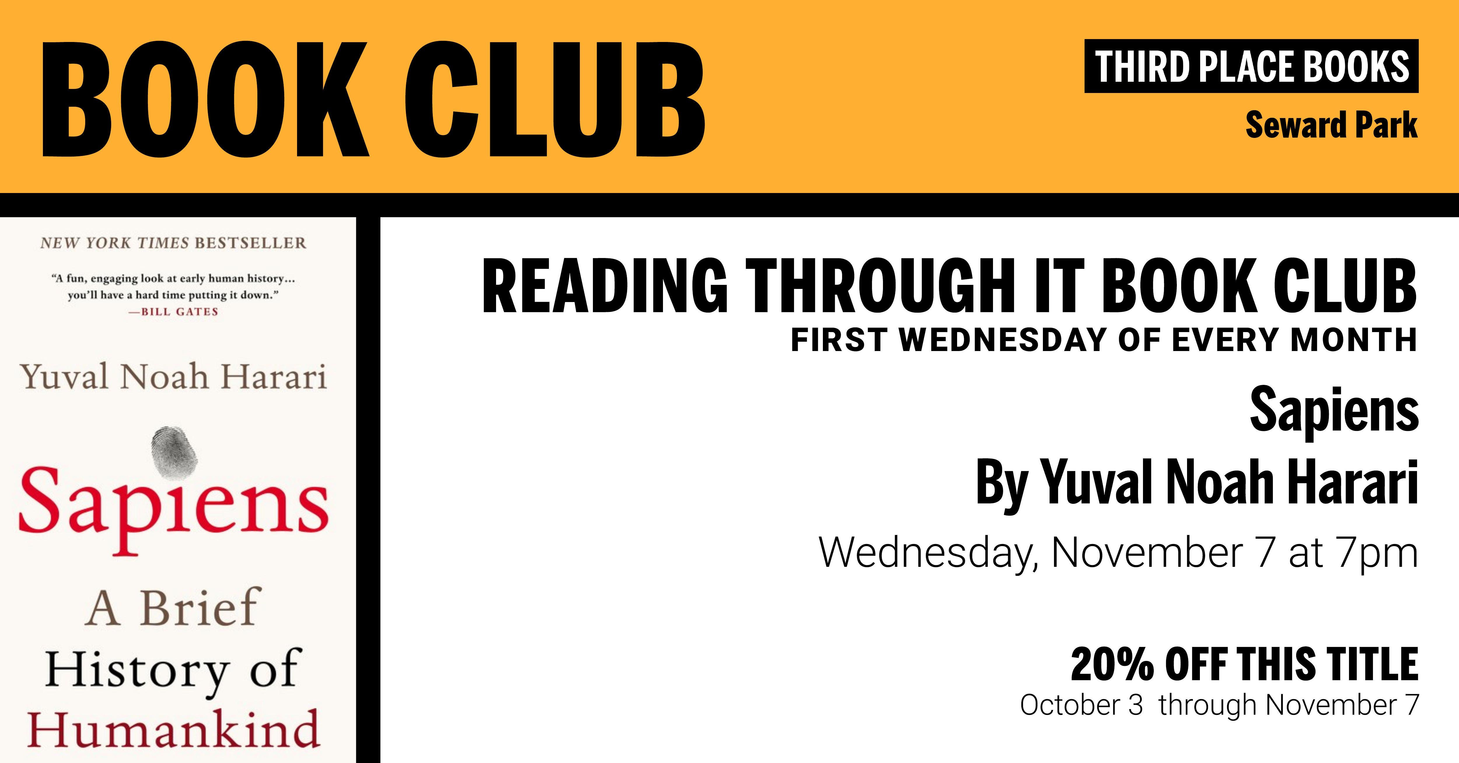 Reading Through It Book Club discussing Sapiens on Wednesday, November 7 at 7pm
