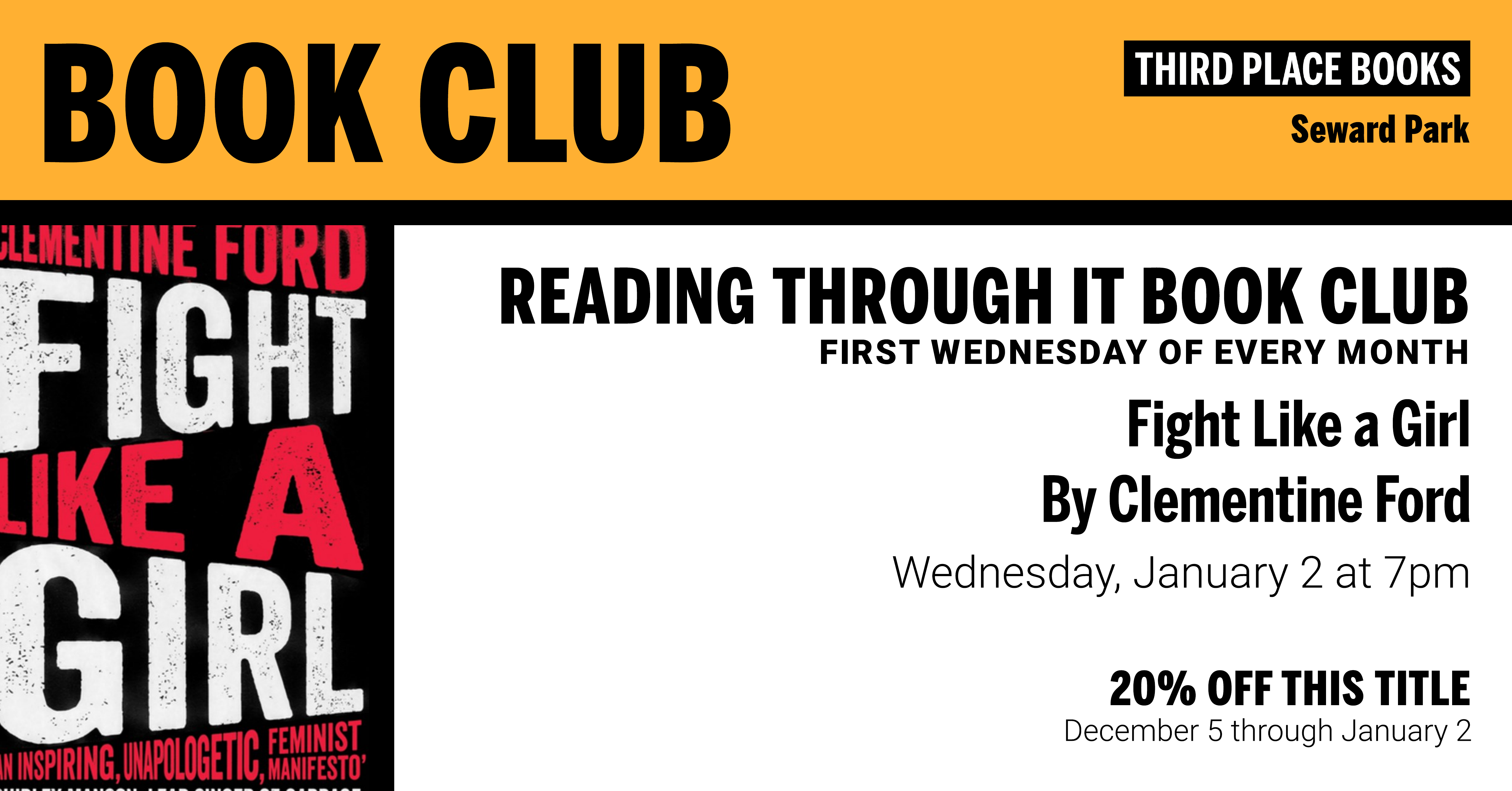 Reading Through It Book Club discussing Fight Like a Girl on Wednesday, January 2nd at 7pm