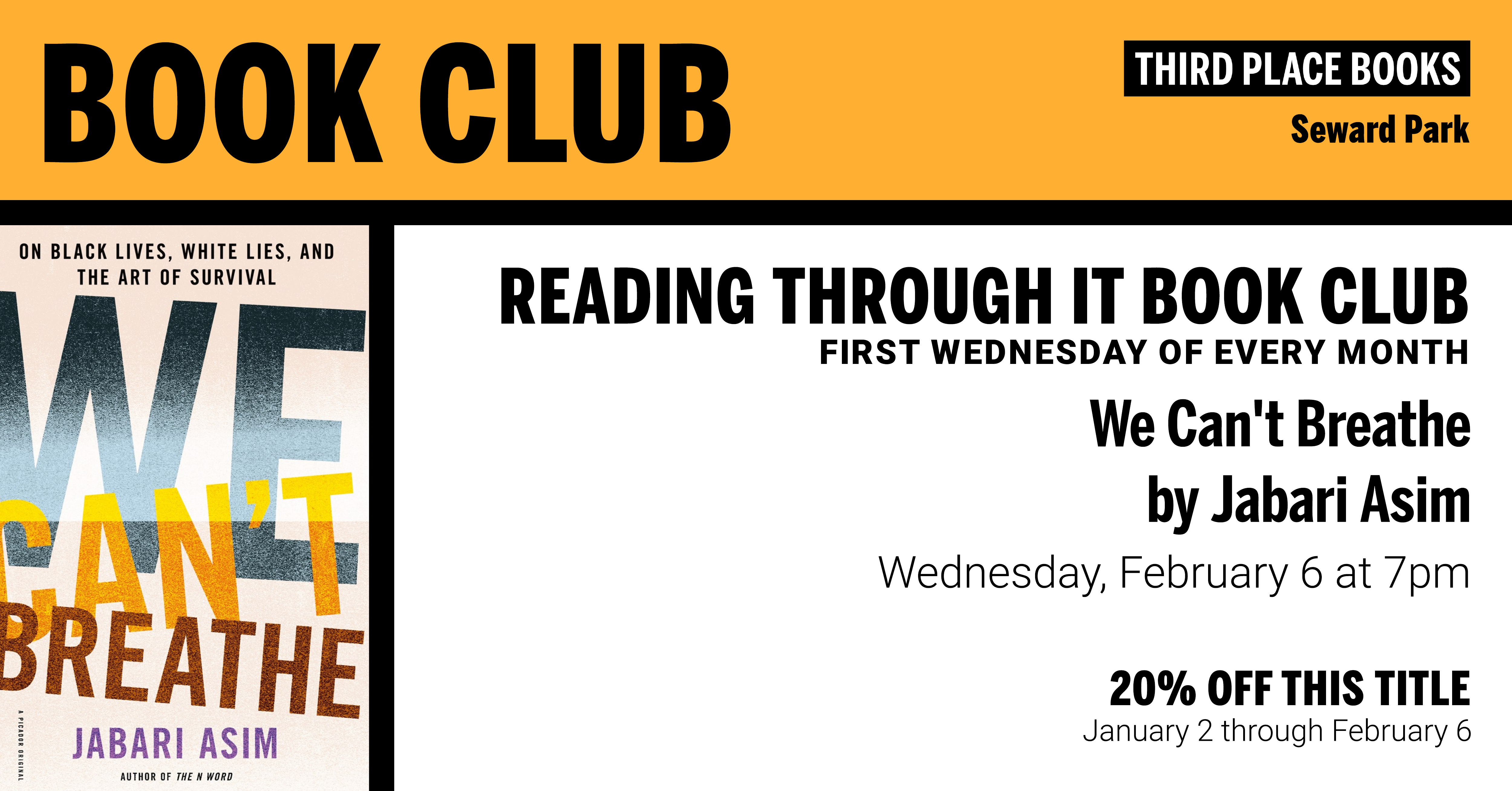 Reading Through It Book Club discussing We Can't Breathe on Wednesday, February 6 at 7pm