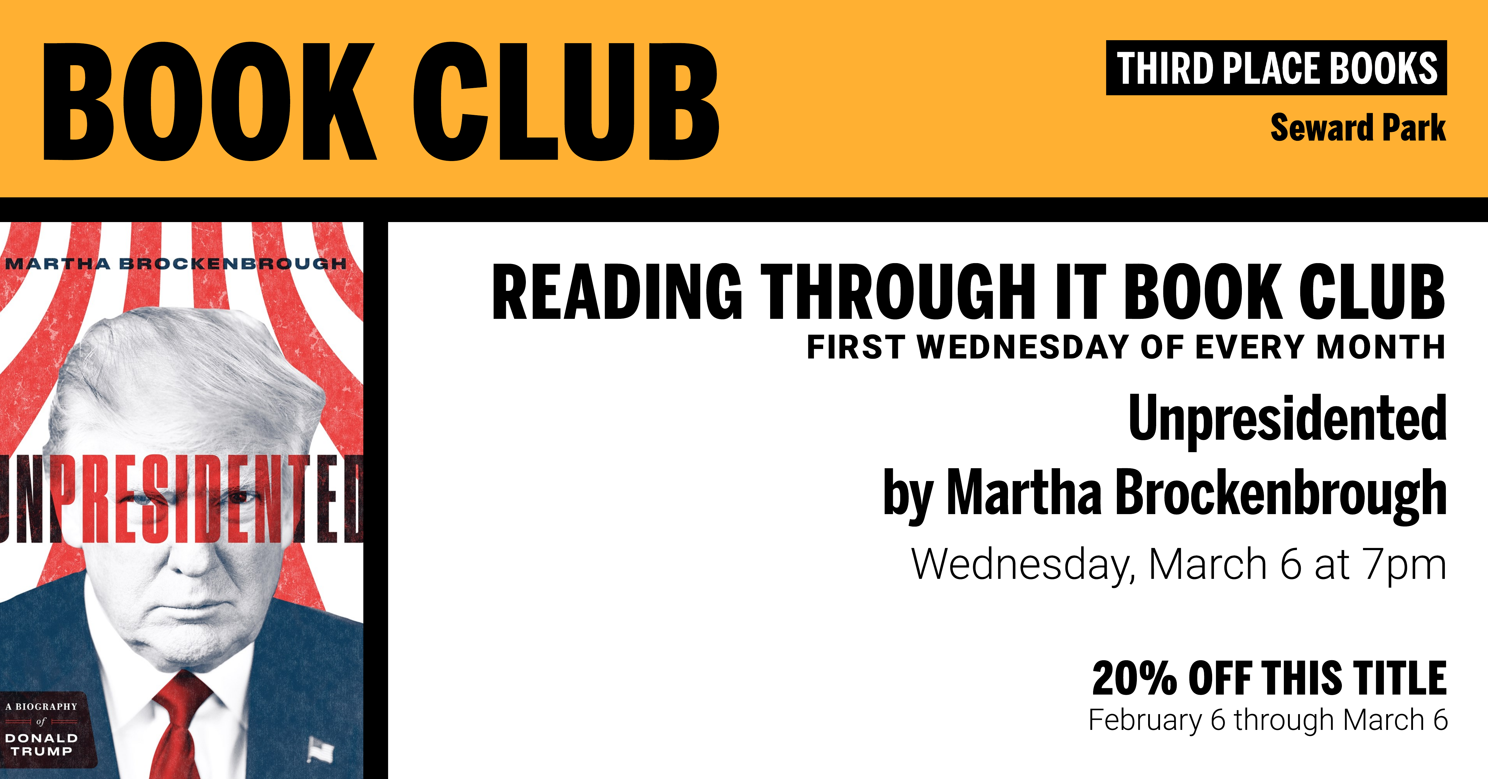 Reading Through It Book Club discussing Unpresidented by Martha Brockenbrough on Wednesday, March 6 at 7pm