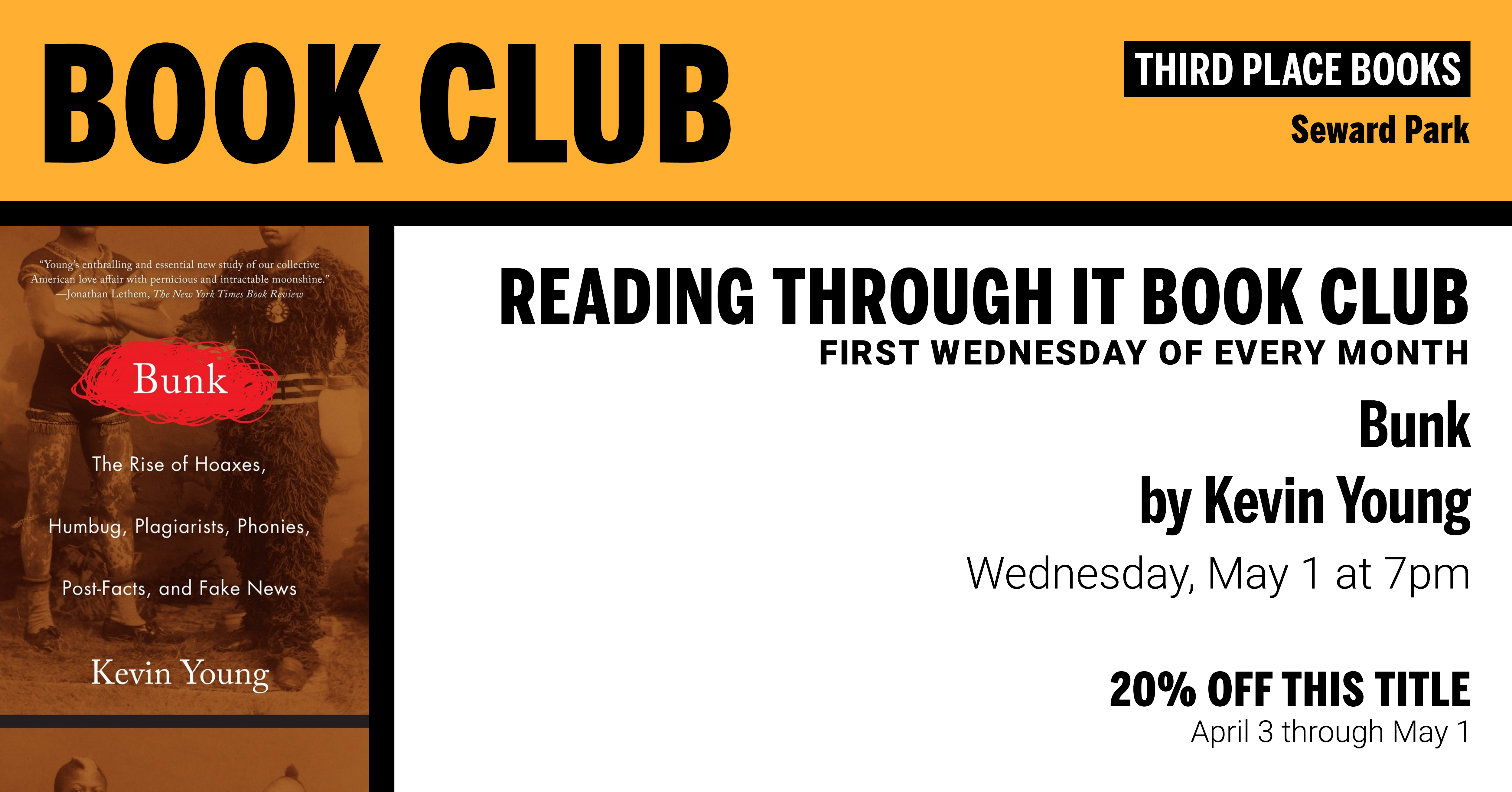 Reading Through It Book Club discussing Bunk by Kevin Young on Wednesday, May 1 at 7pm