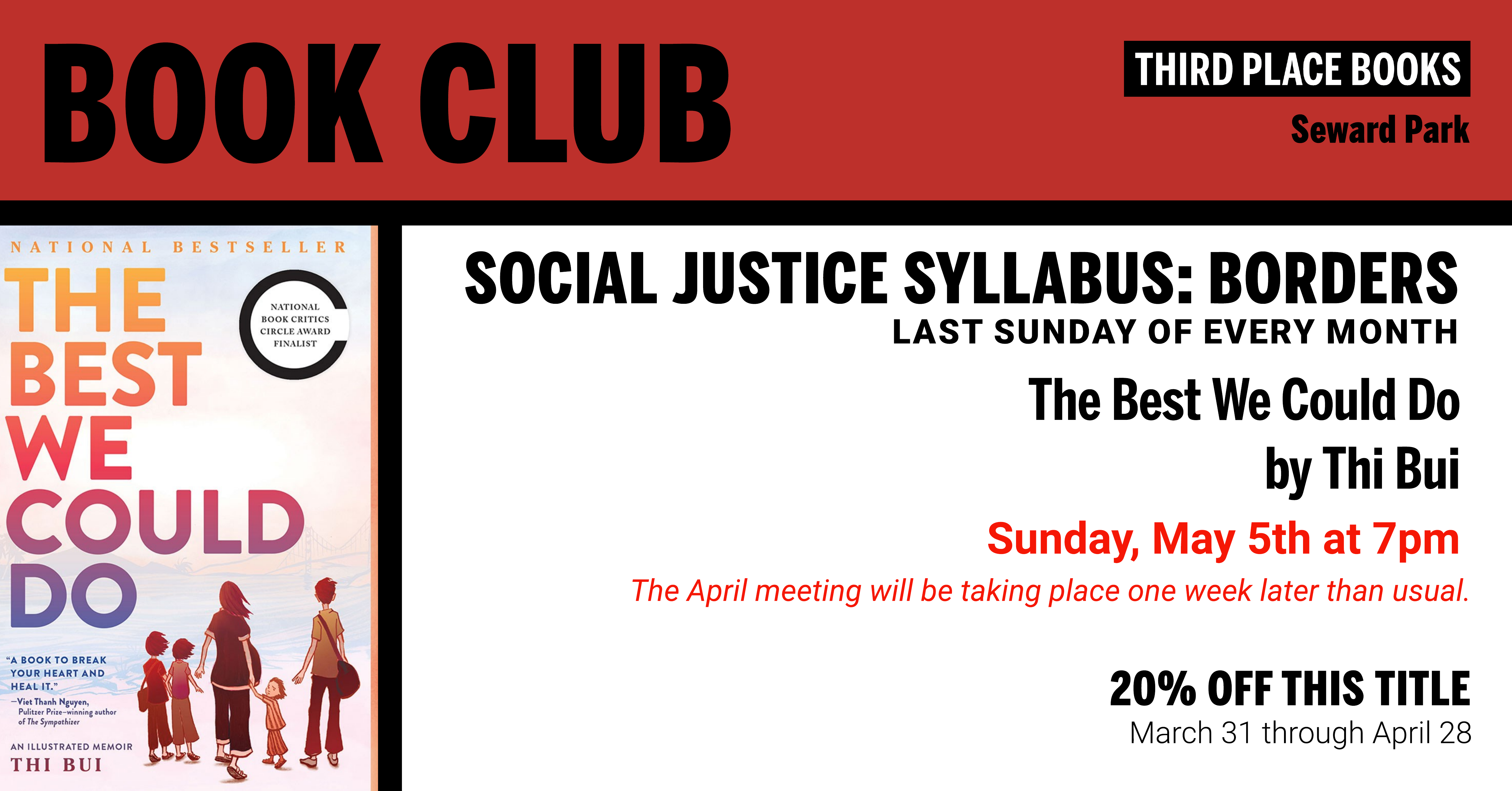 Social Justice Syllabus Book Club: Borders discussing The Best We Could Do by Thi Bui on Sunday, May 5th at 7pm