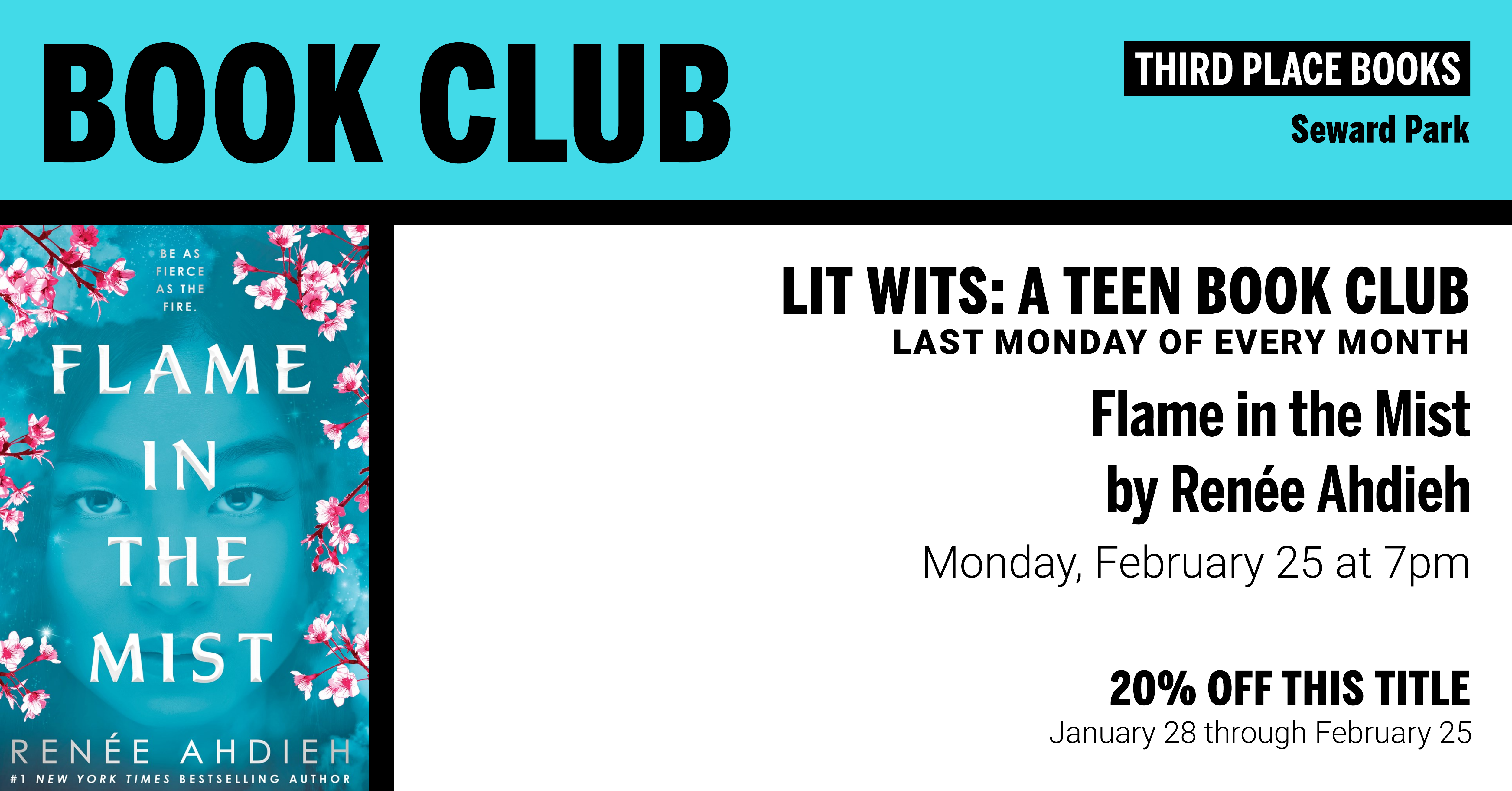 Lit Wits: A Teen Book Club discussing Flame in the Mist on Monday, February 25 at 7pm