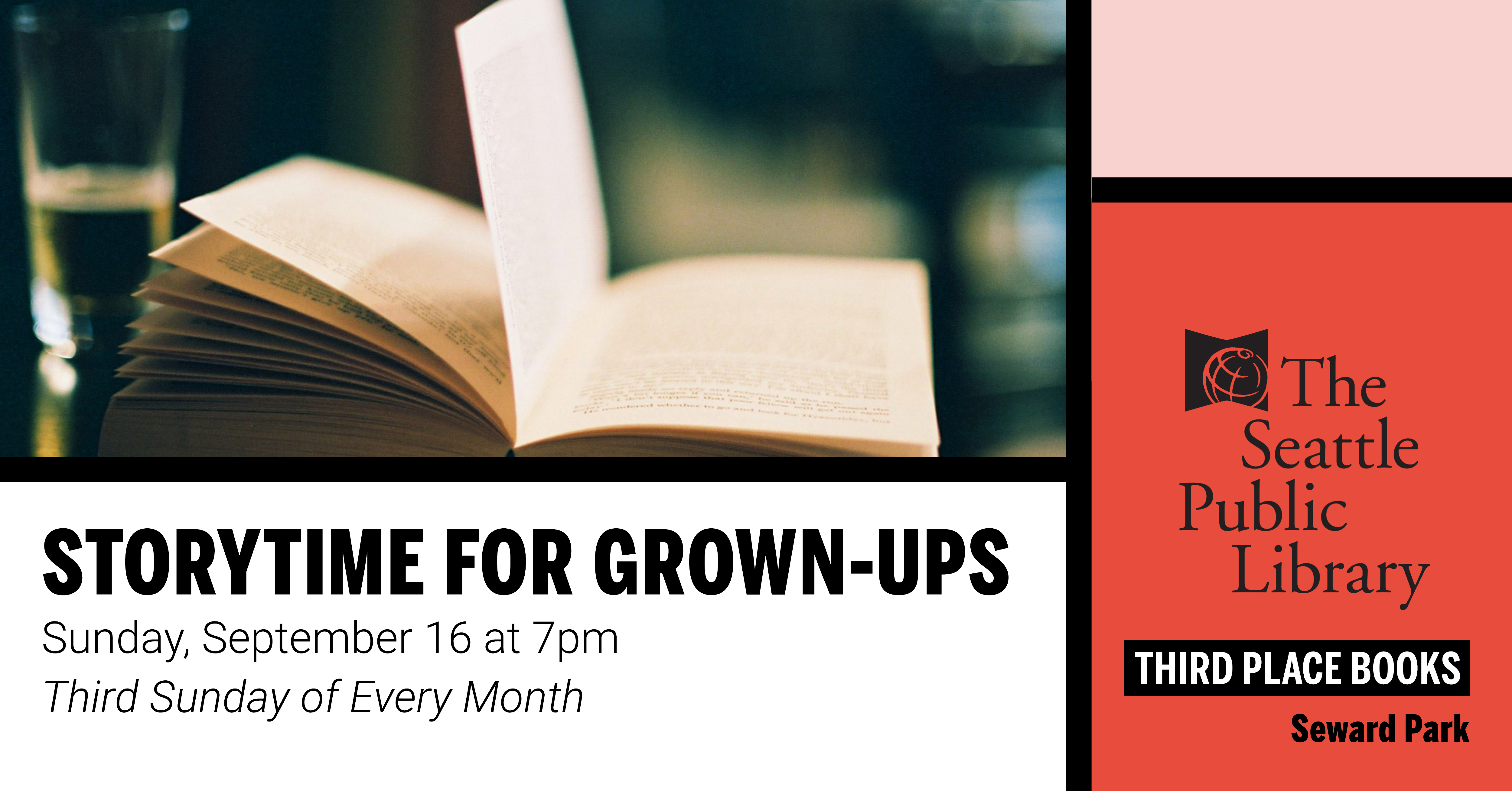 Story Time for Grown Ups! on Sunday, September 16 at 7pm