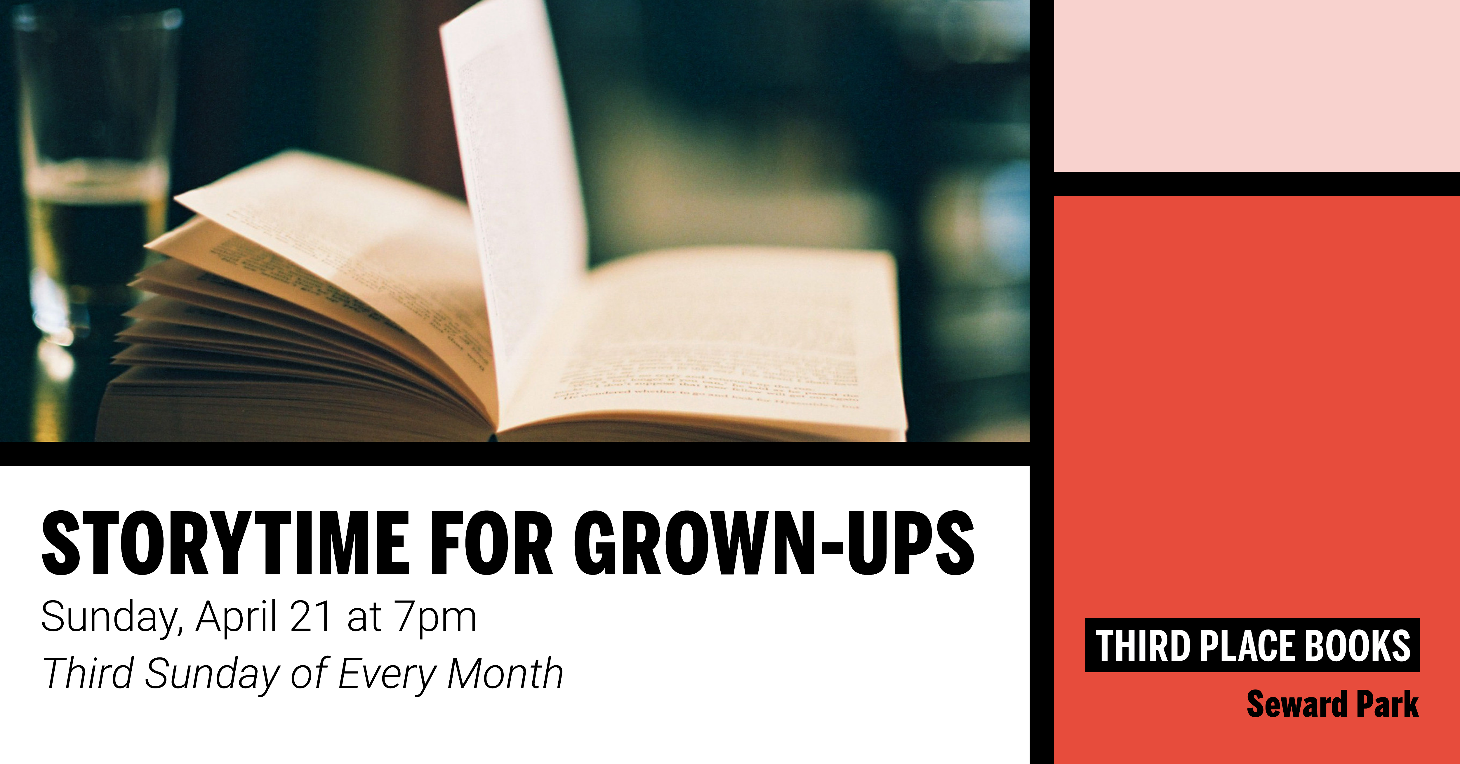 Story Time for Grown Ups! on Sunday, April 21 at 7pm