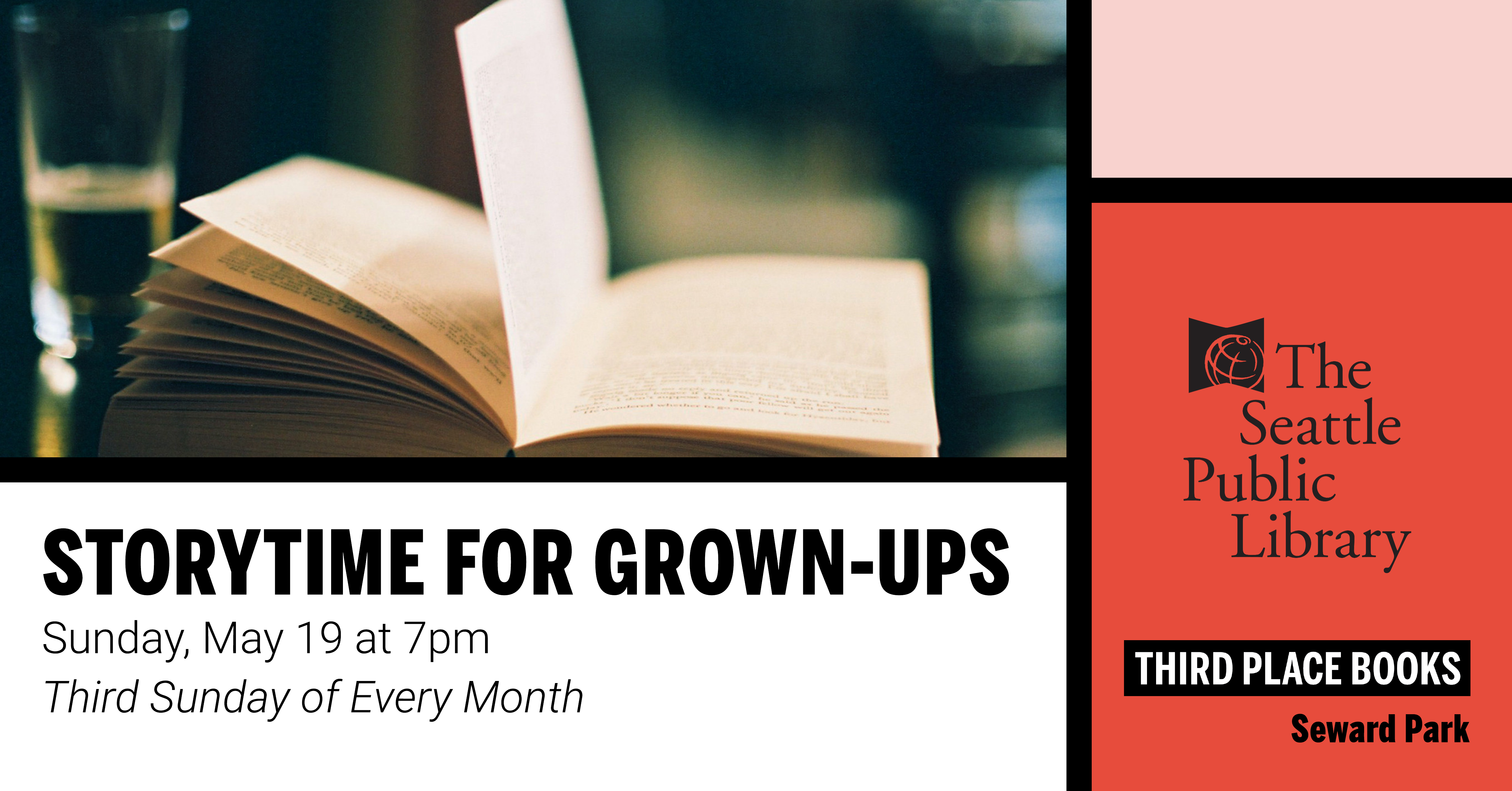 Join us for Story Time for Grown Ups on Sunday, May 19 at 7pm