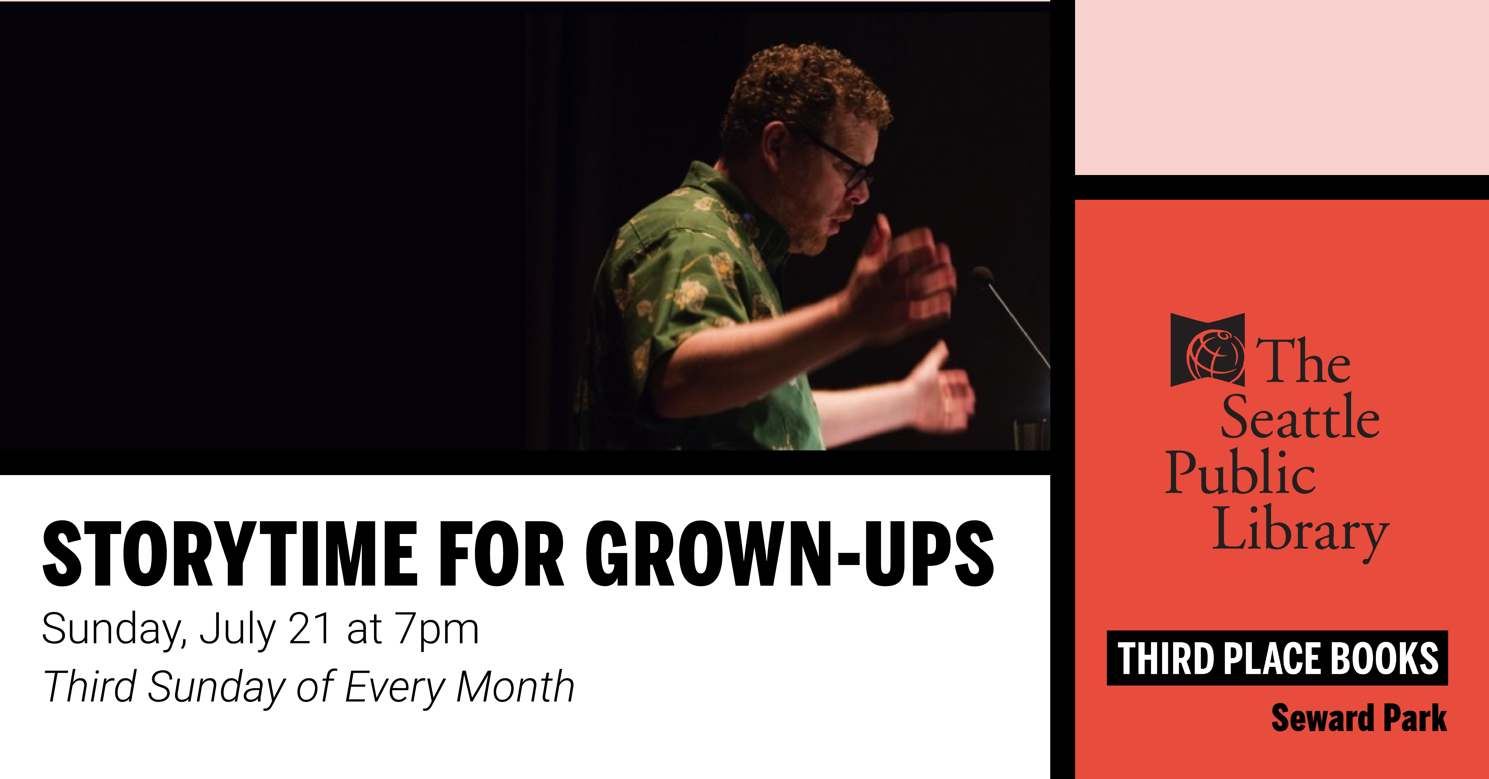 Story Time for Grown Ups on Sunday, July 21 at 7pm