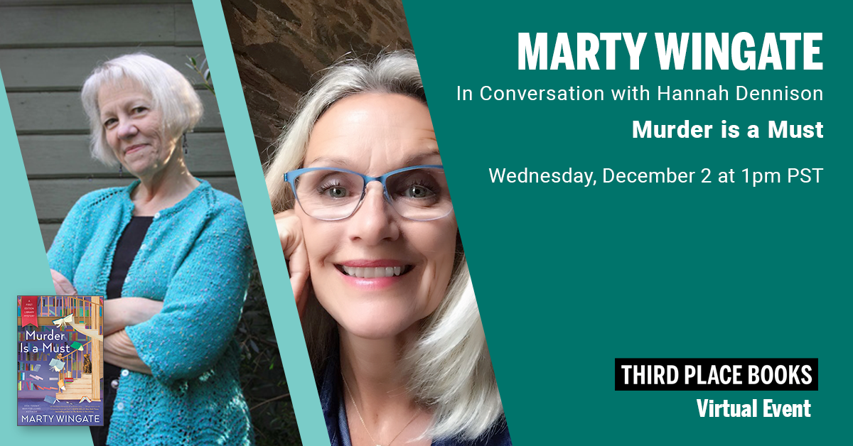Live on Zoom! Marty Wingate, in conversation with Hannah Dennison - Murder is a Must Wednesday, December 2 at 1:00pm